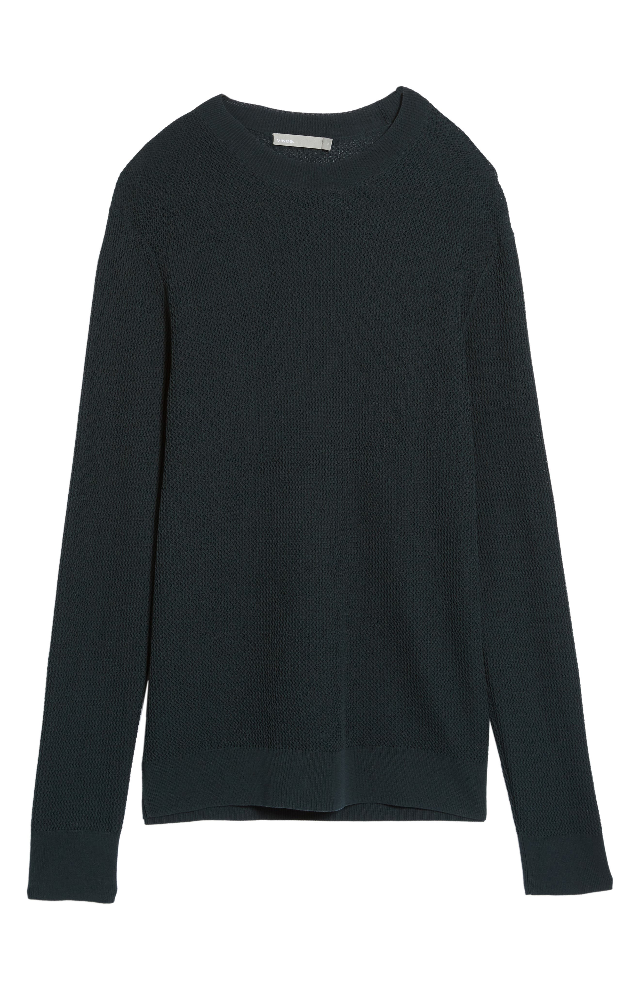 Mesh Crewneck Sweater,                             Alternate thumbnail 5, color,                             Midnight Forest