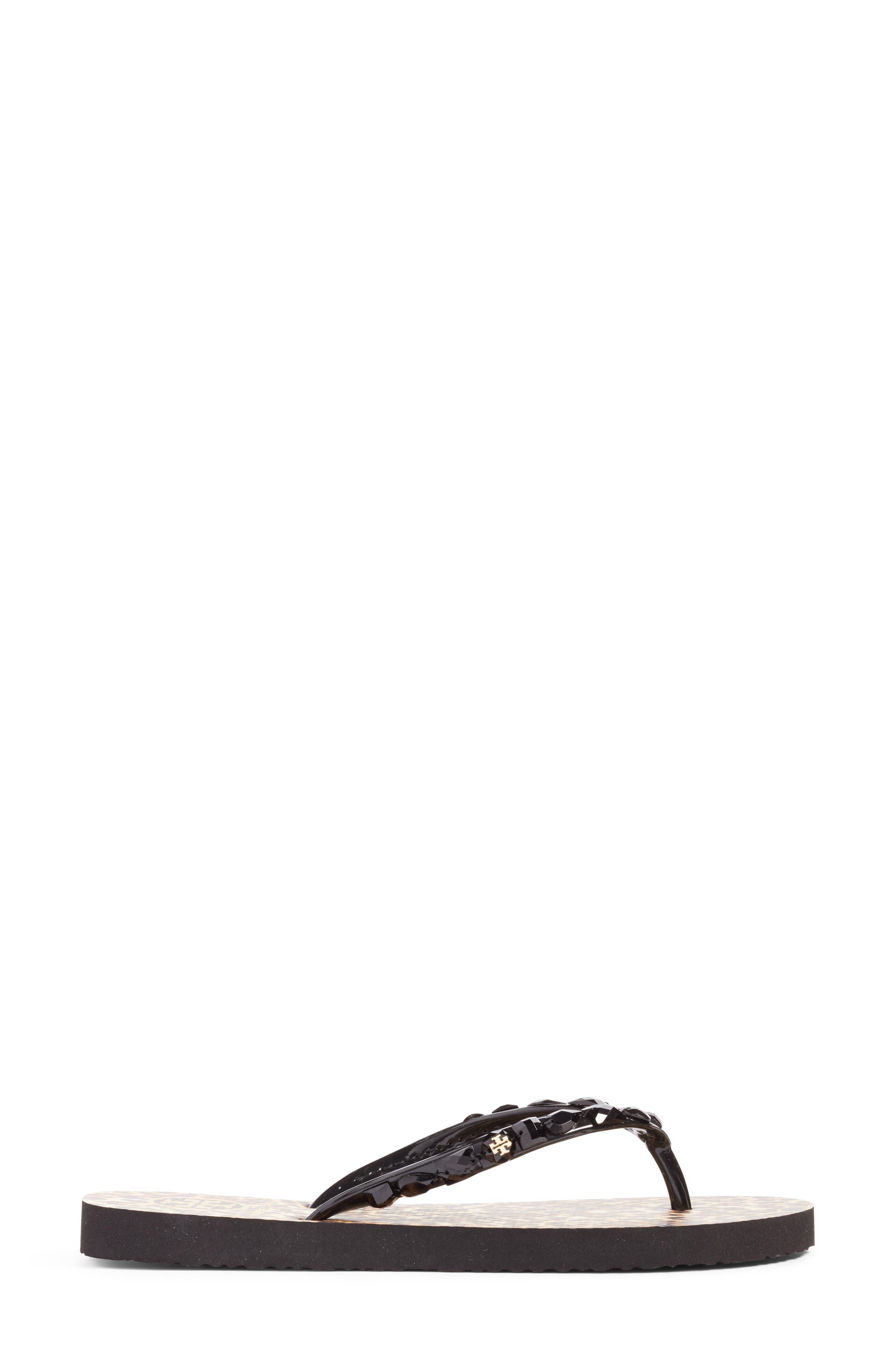 Embellished Flip-Flop,                             Alternate thumbnail 3, color,                             Black/ Leopard