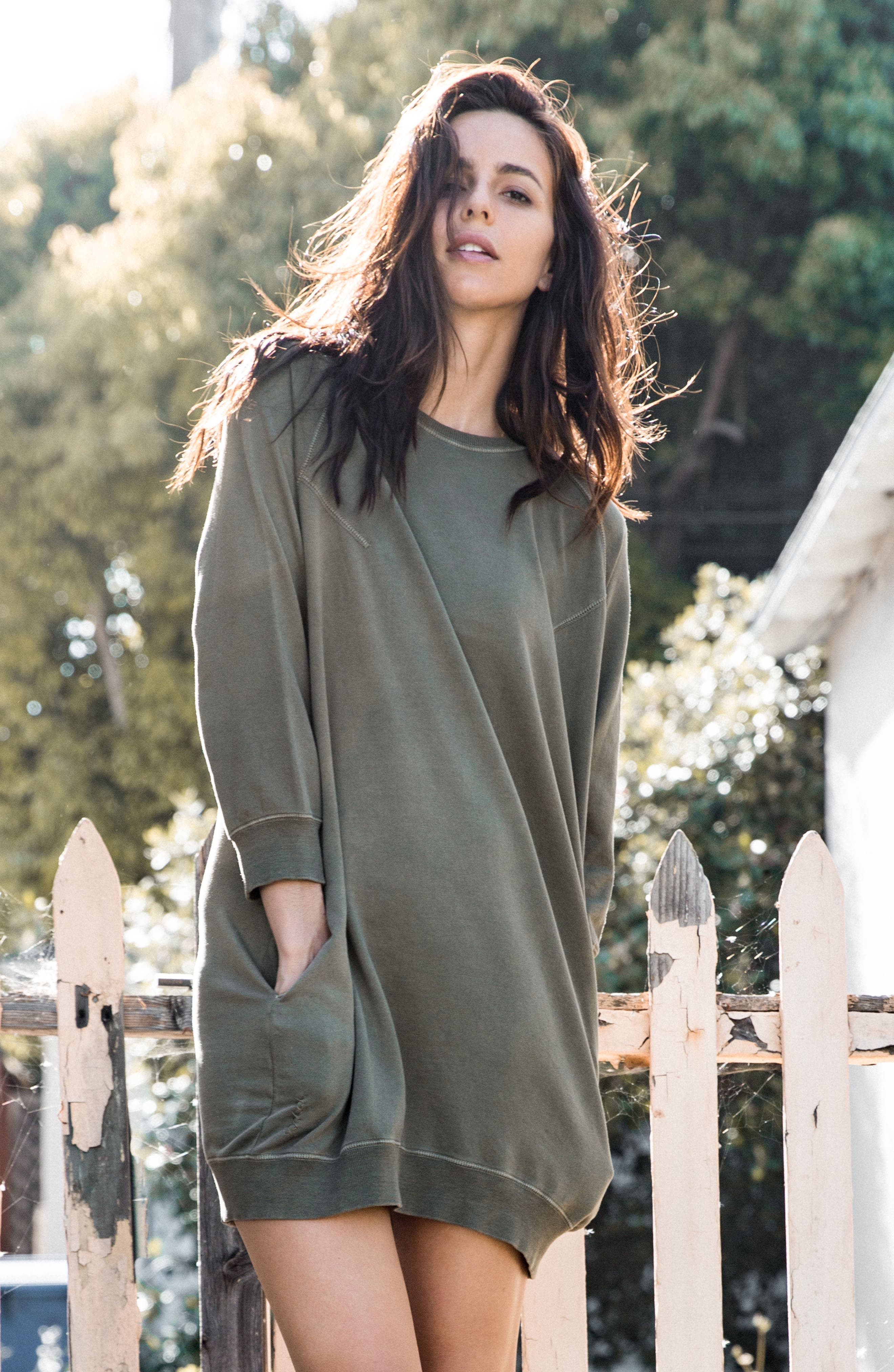 Sweatshirt Dress,                             Alternate thumbnail 4, color,                             Faded Army