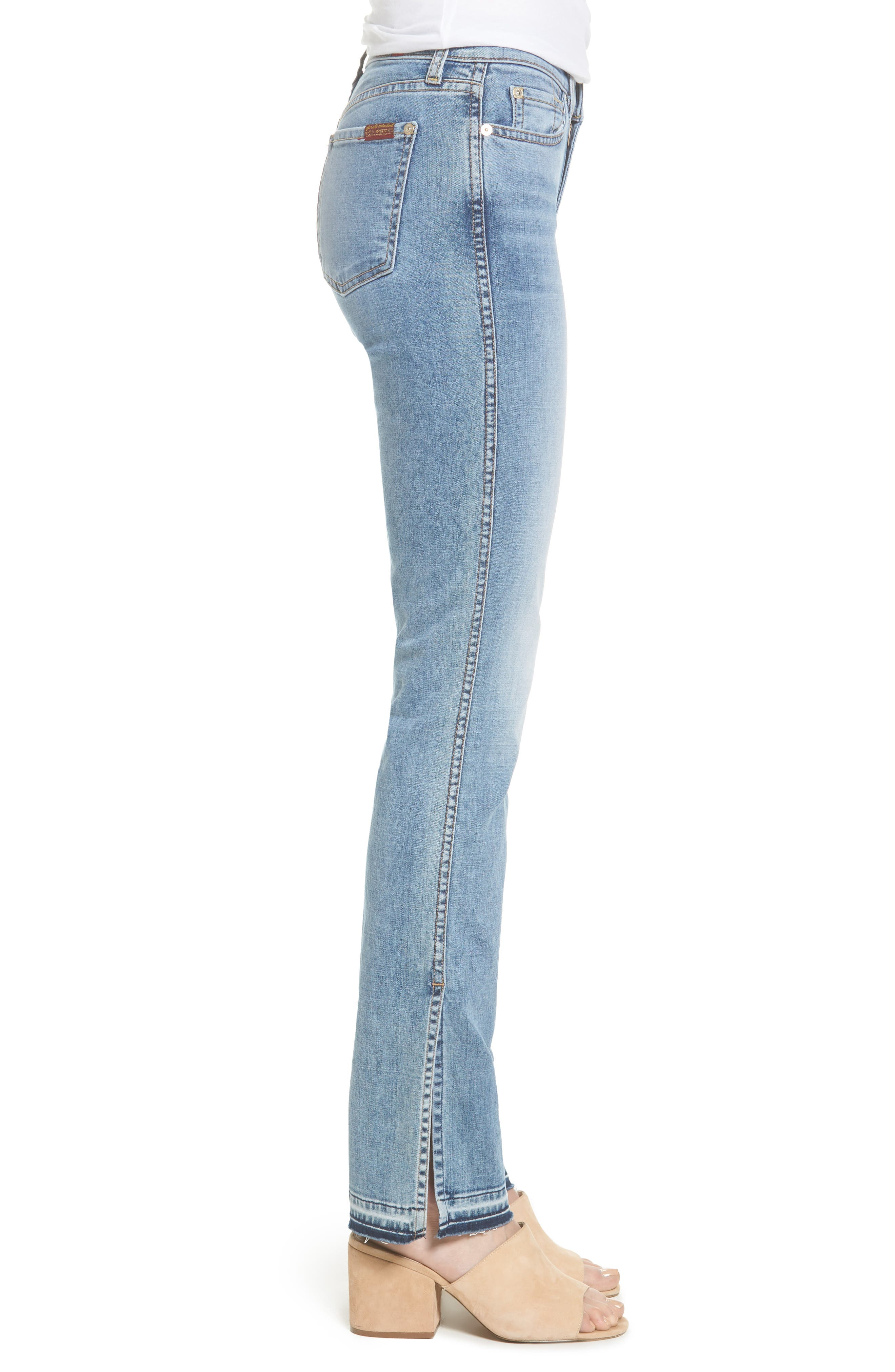 Alternate Image 3  - 7 For All Mankind® Dylan Split Hem Straight Leg Jeans (Light Lafayette)