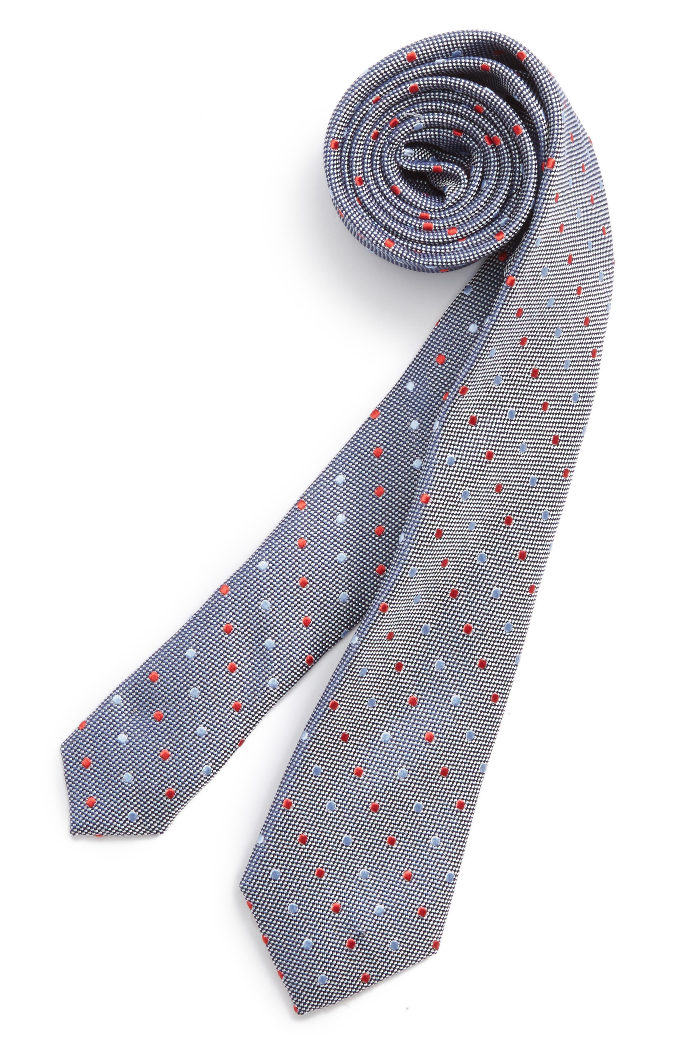 Dot Silk Tie,                         Main,                         color, Night Blue