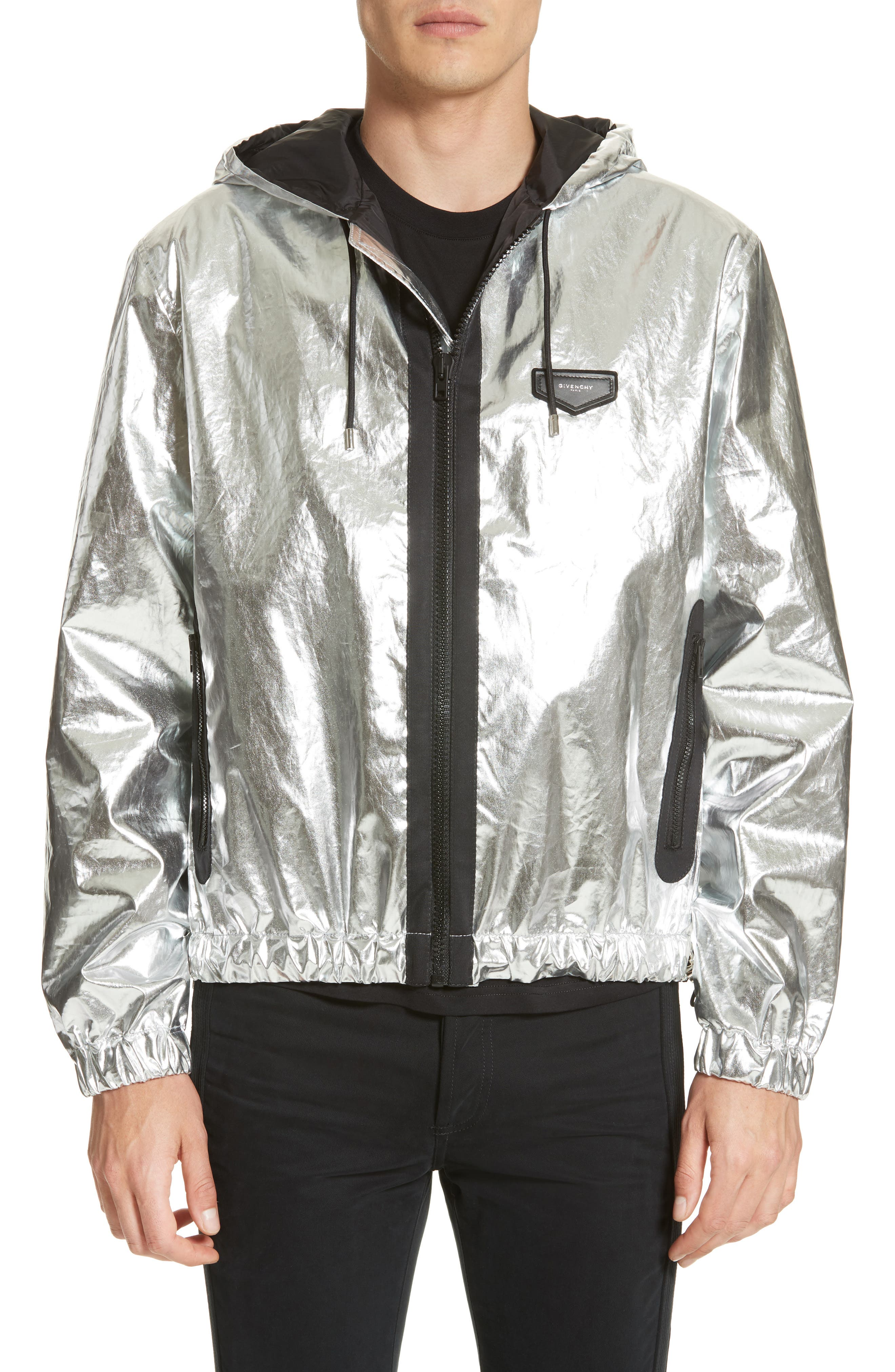 GIVENCHY Zip Front Foil Hoodie