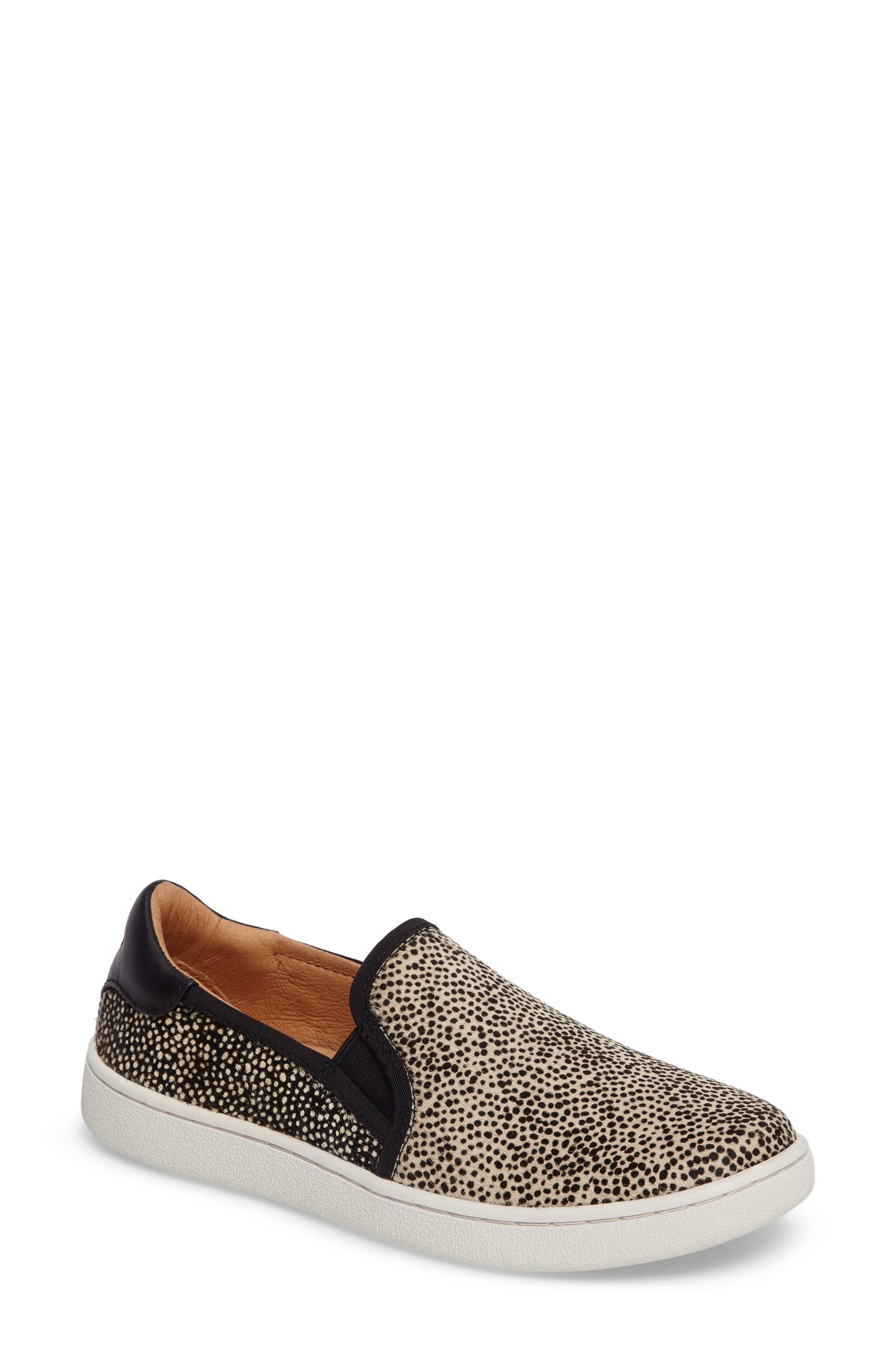 Cas Exotic Genuine Calf Hair Slip-On Sneaker,                         Main,                         color, Black/ Tan Dotted Leather