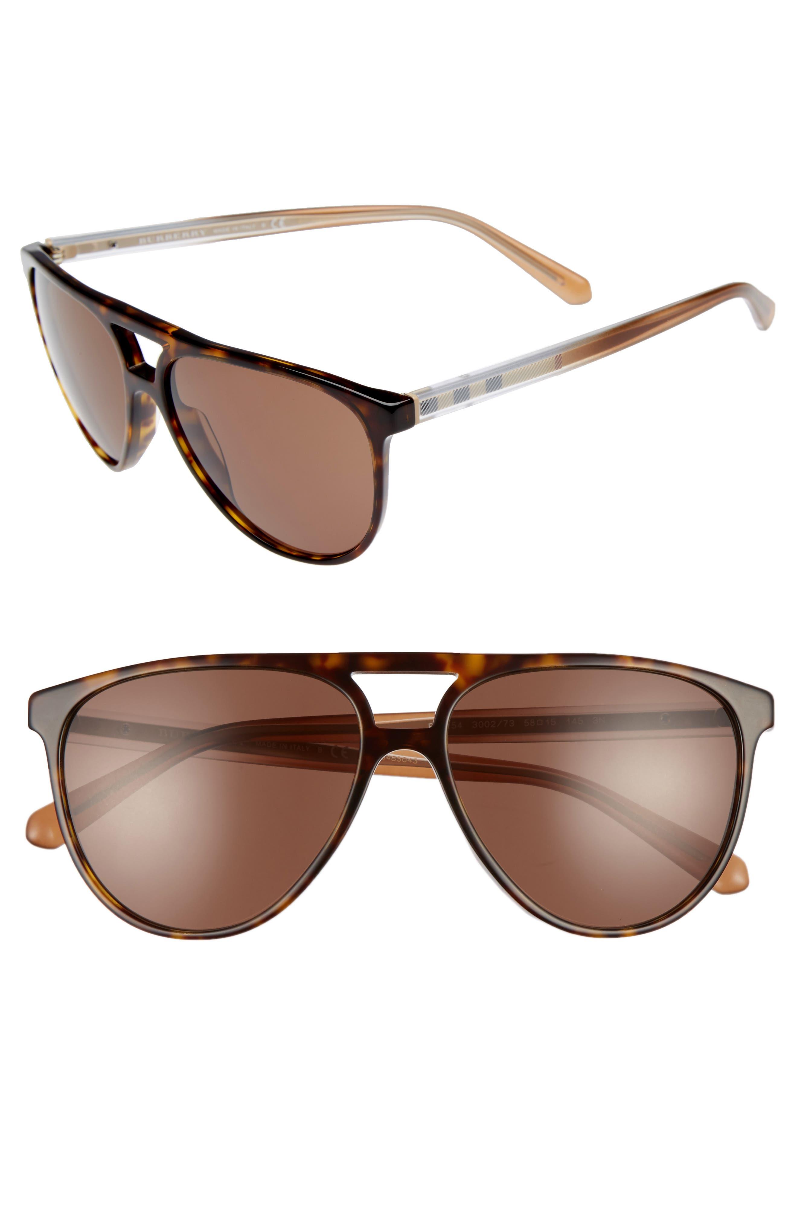 58mm Aviator Sunglasses,                         Main,                         color, Dark Havana