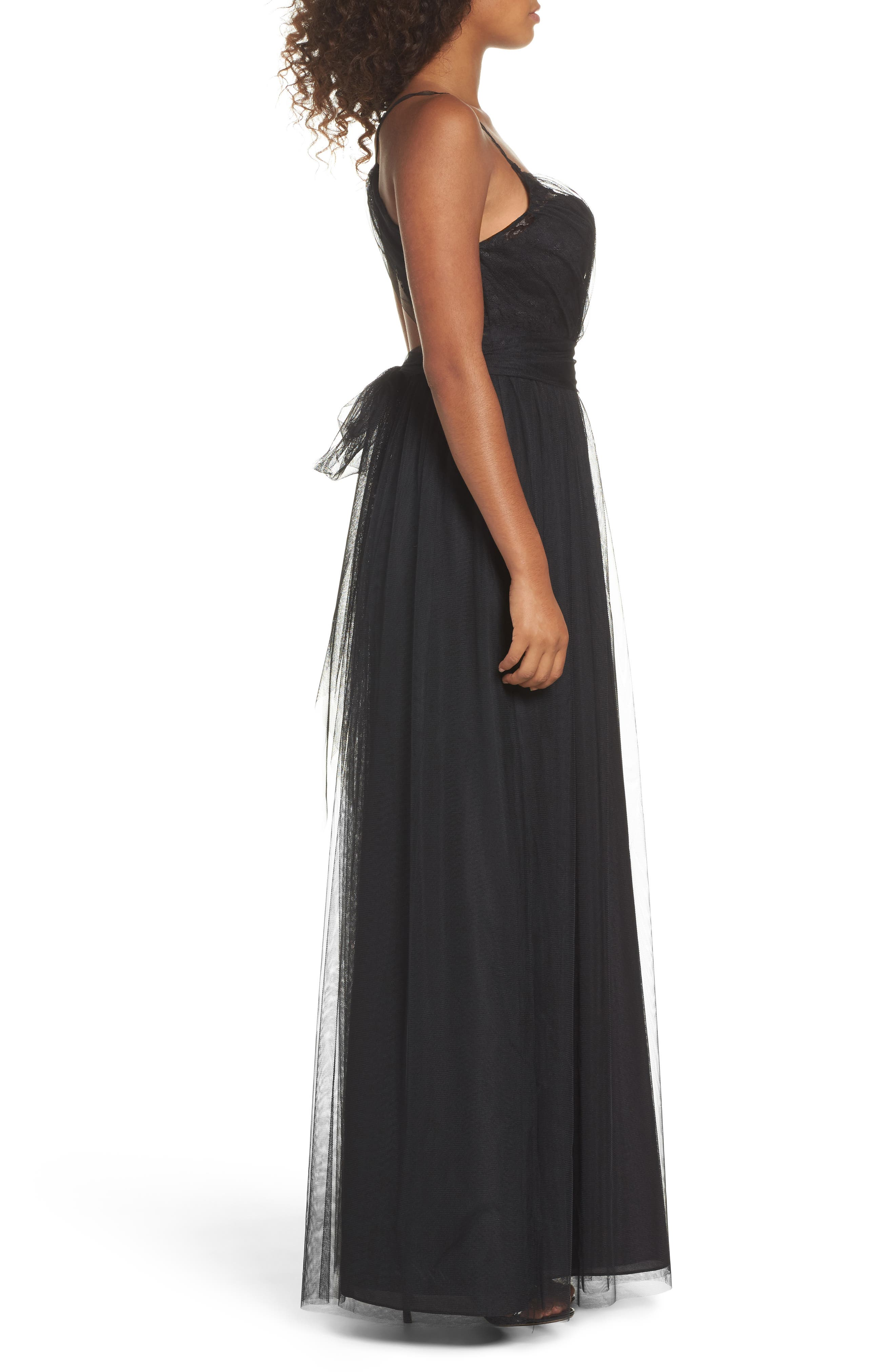 Aria Lace & Tulle Gown,                             Alternate thumbnail 3, color,                             Black