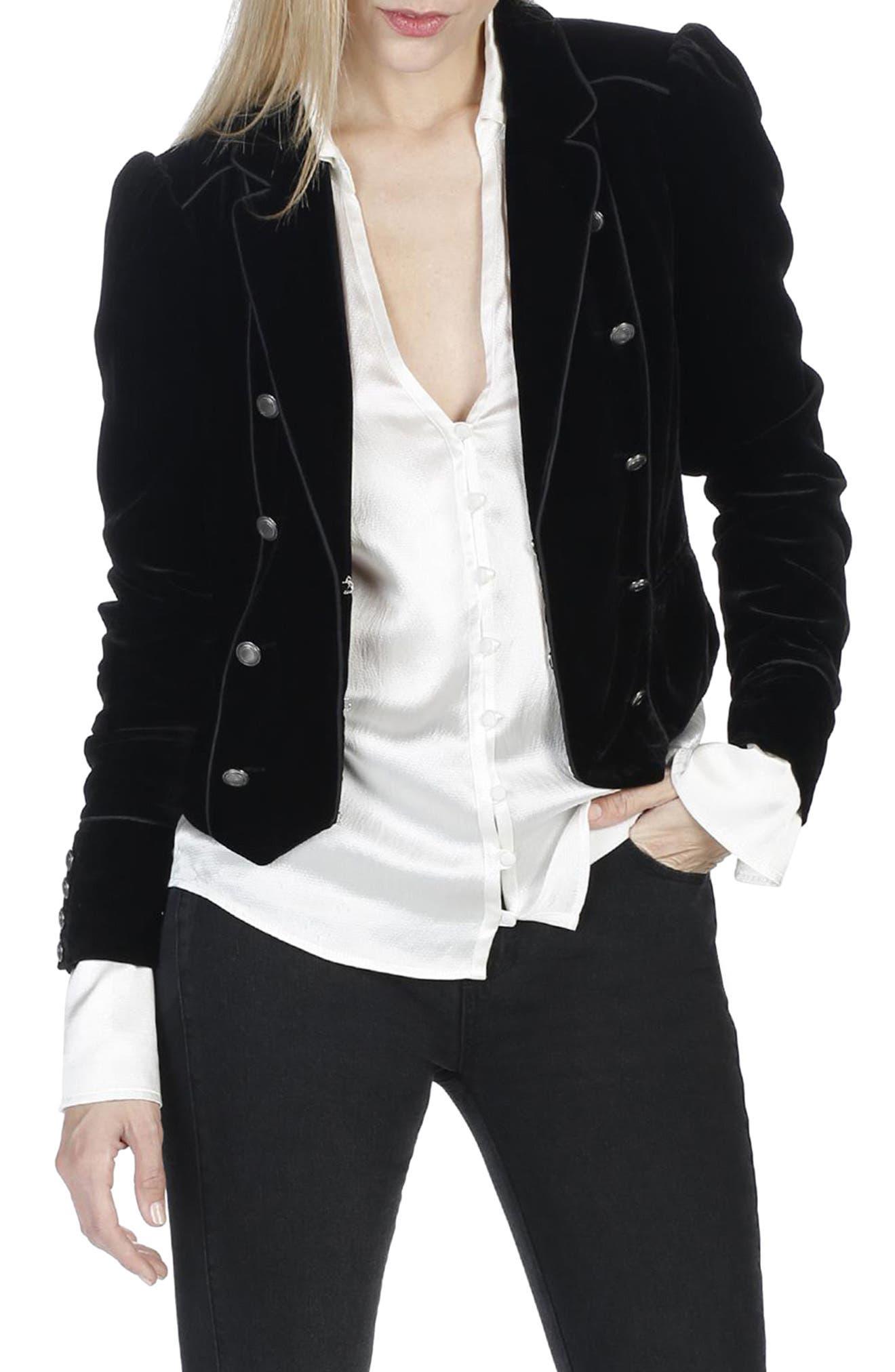 Maribel Velvet Jacket,                             Alternate thumbnail 3, color,                             Black