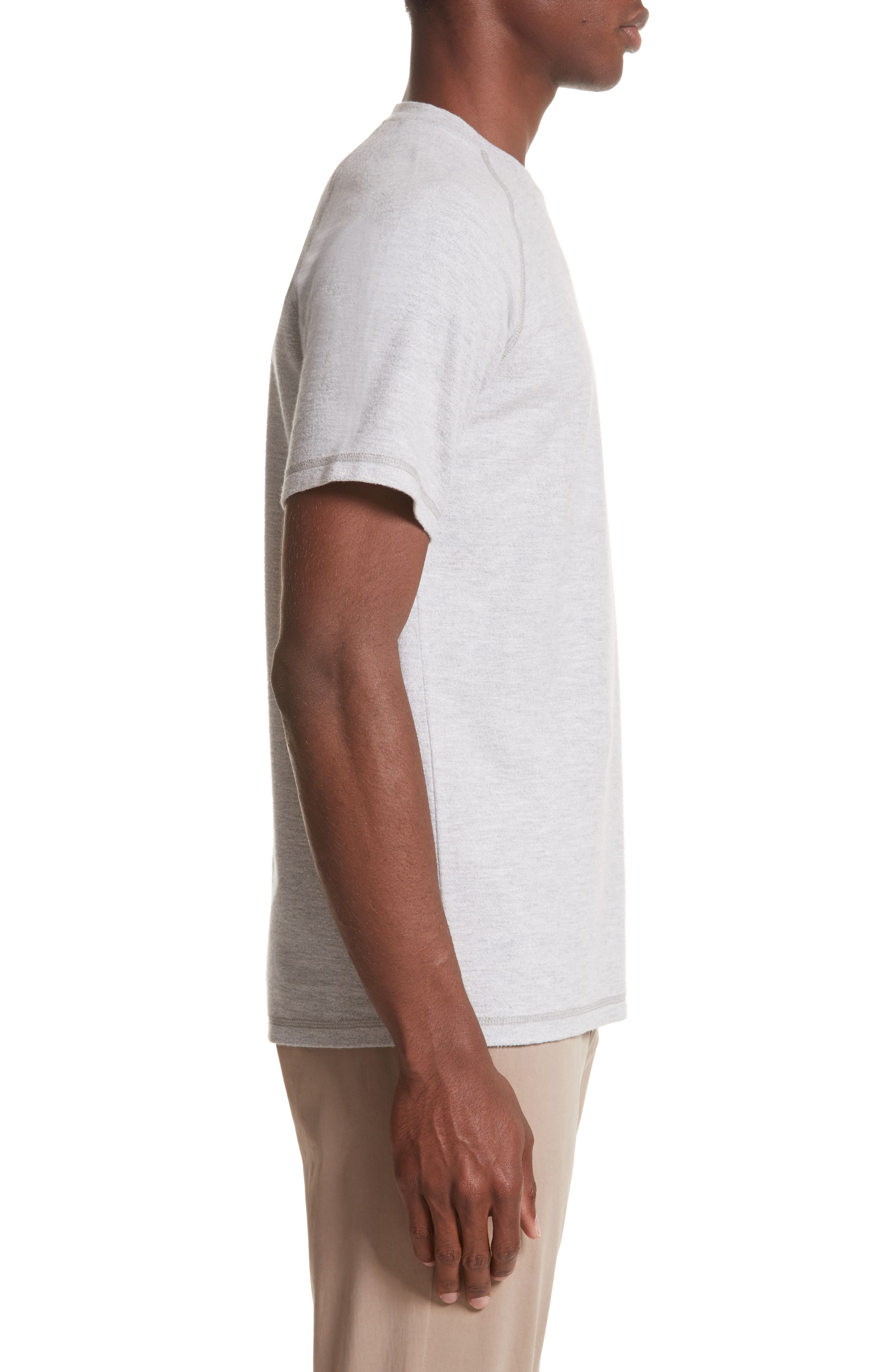 Victor Brushed Cotton T-Shirt,                             Alternate thumbnail 3, color,                             Light Grey