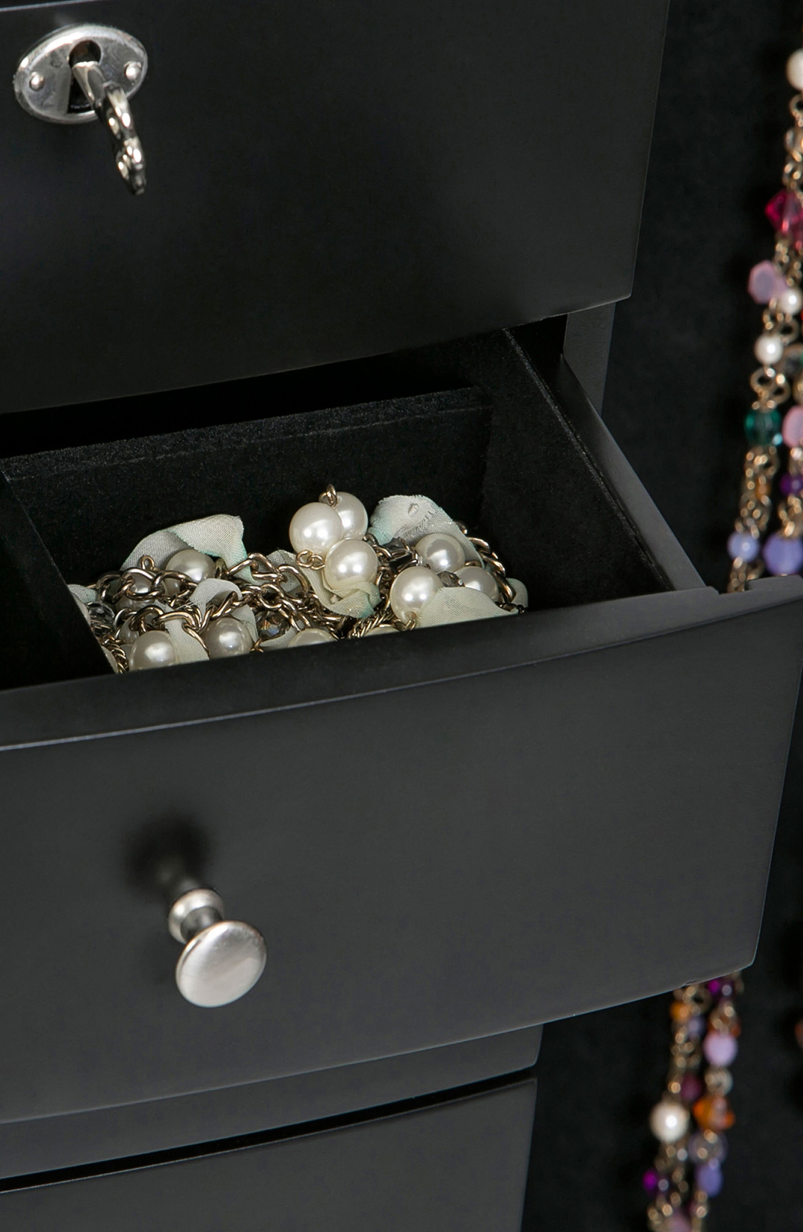 Paxton Jewelry Armoire,                             Alternate thumbnail 8, color,                             Black