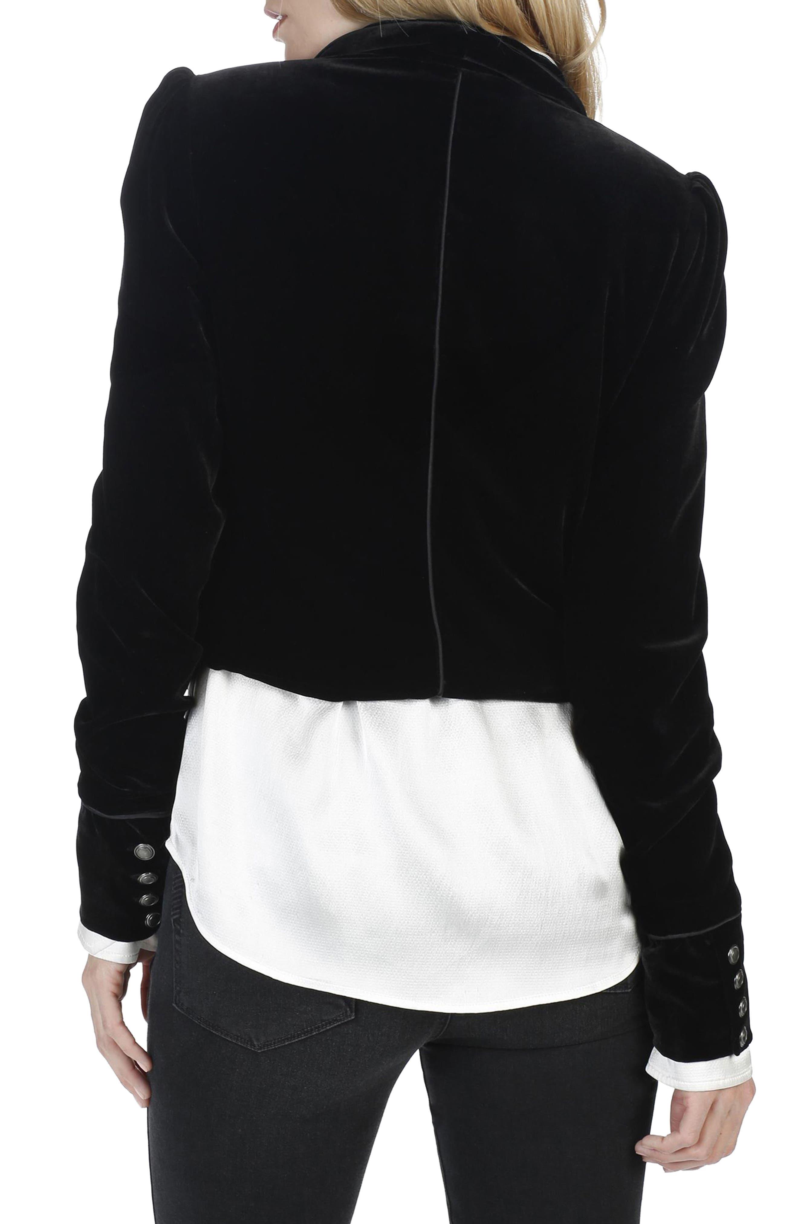 Maribel Velvet Jacket,                             Alternate thumbnail 2, color,                             Black