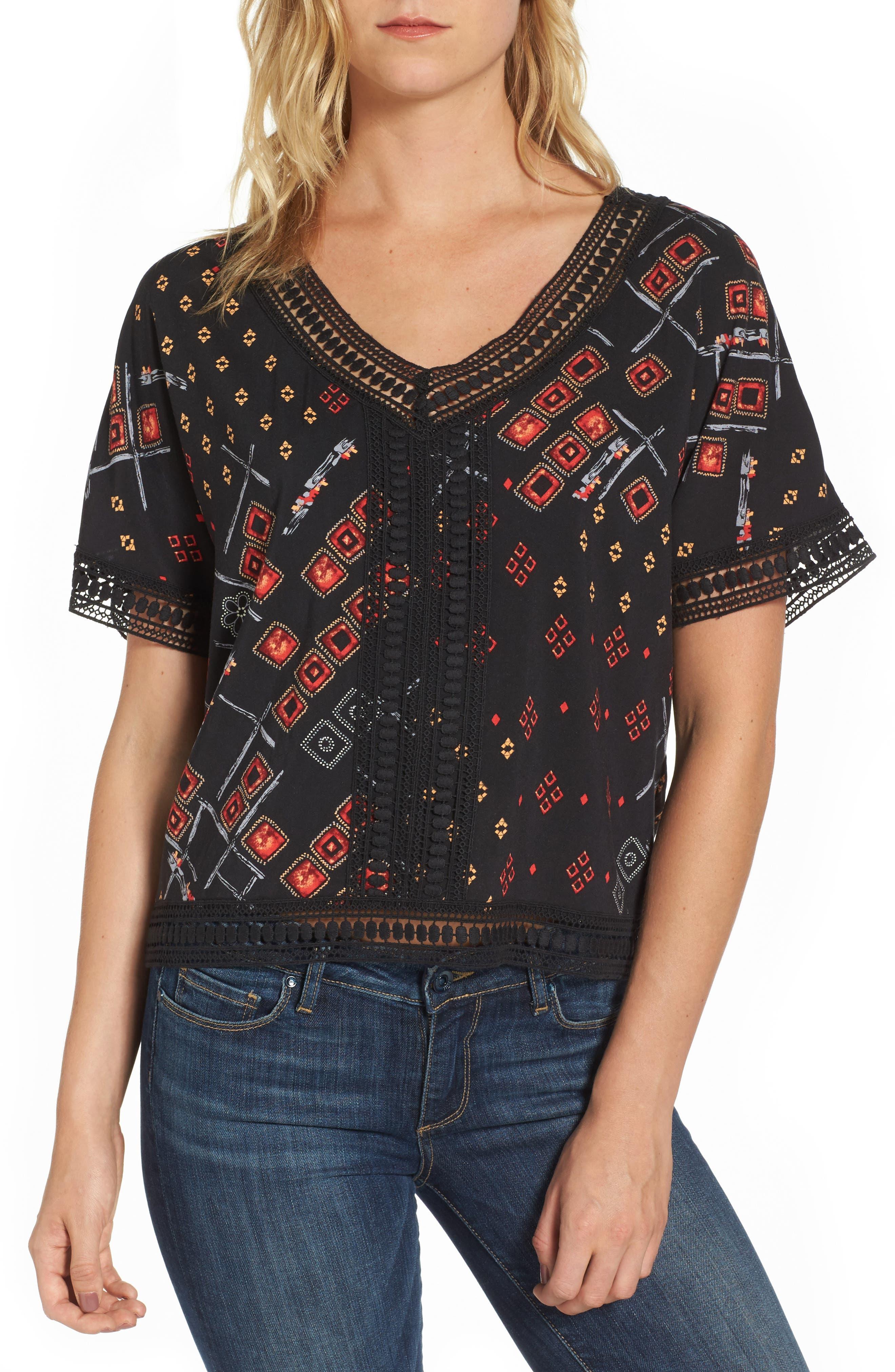 Dex Crochet Trim Print Top