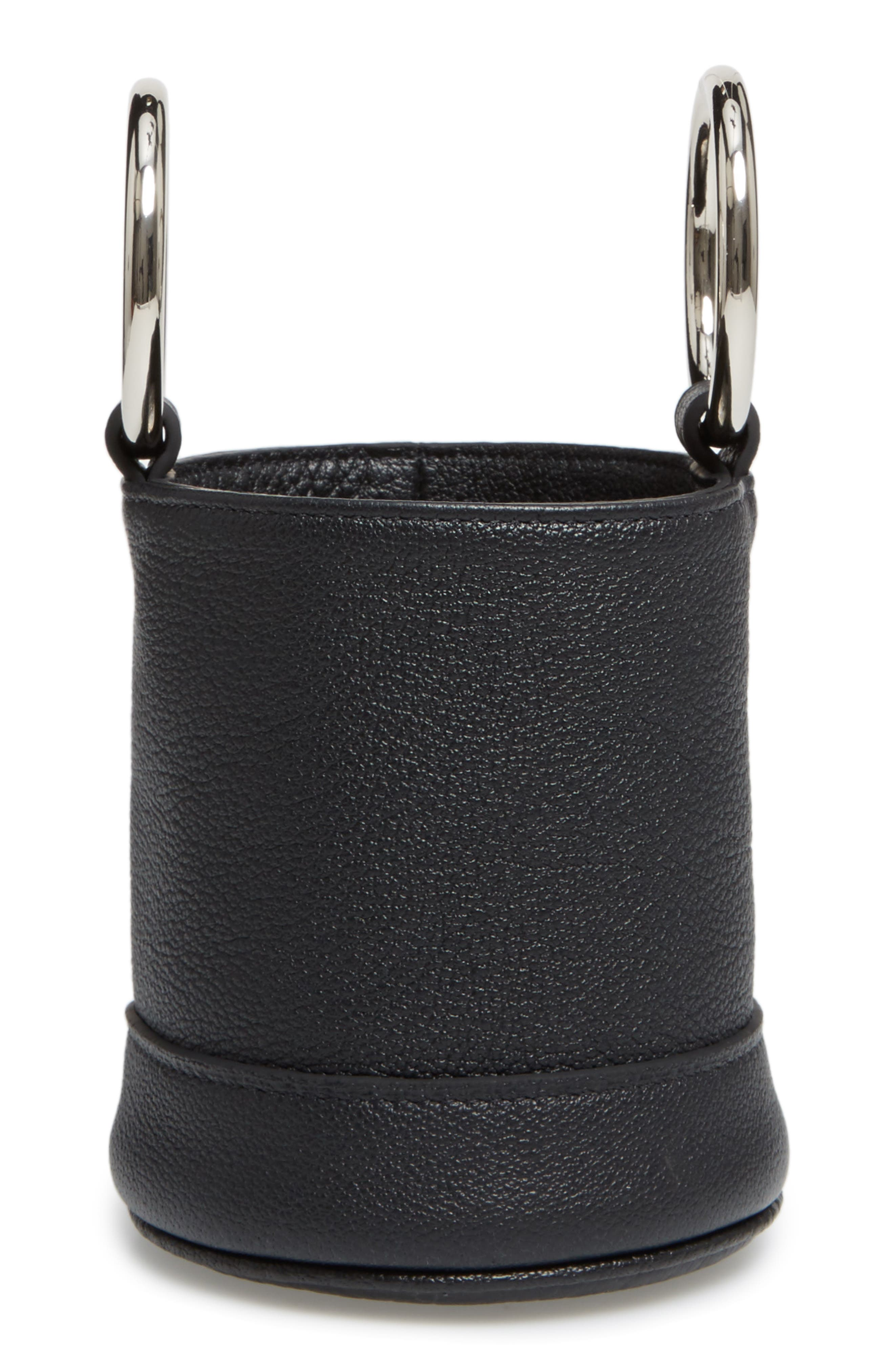 Bonsai Pebbled Leather Bucket Bag,                             Alternate thumbnail 4, color,                             Black