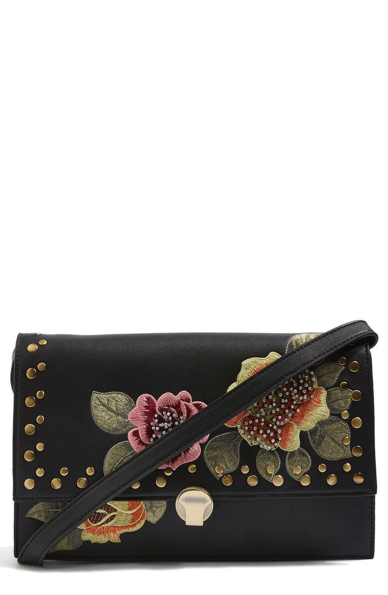 Topshop Robyn Floral Faux Leather Crossbody Bag