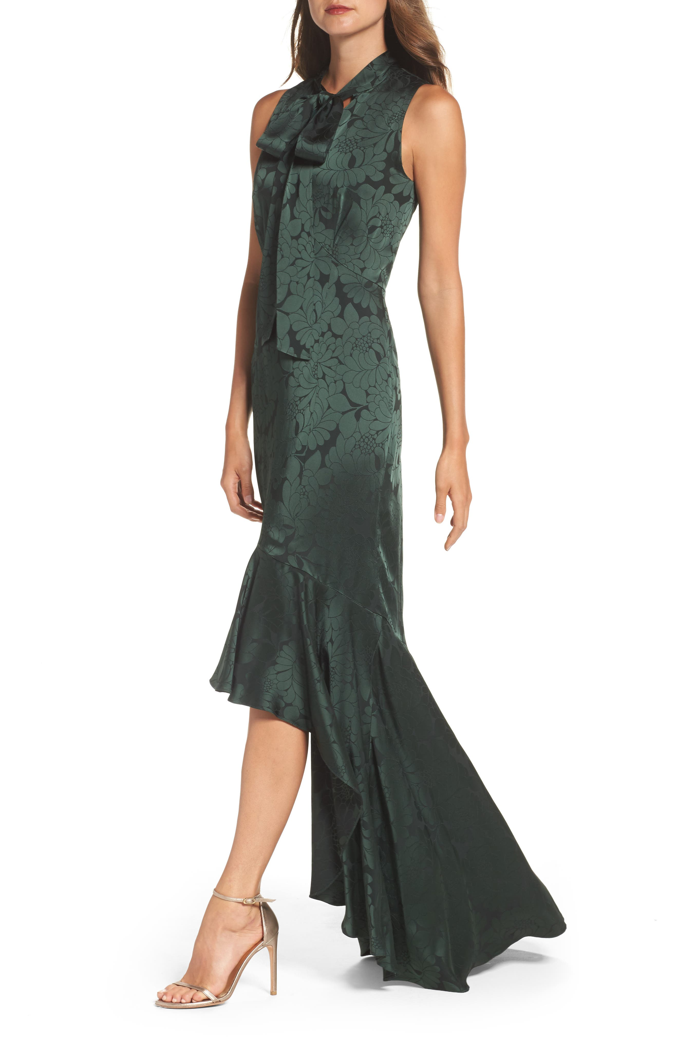 Mayburn Jacquard High/Low Gown,                             Alternate thumbnail 4, color,                             Dark Green