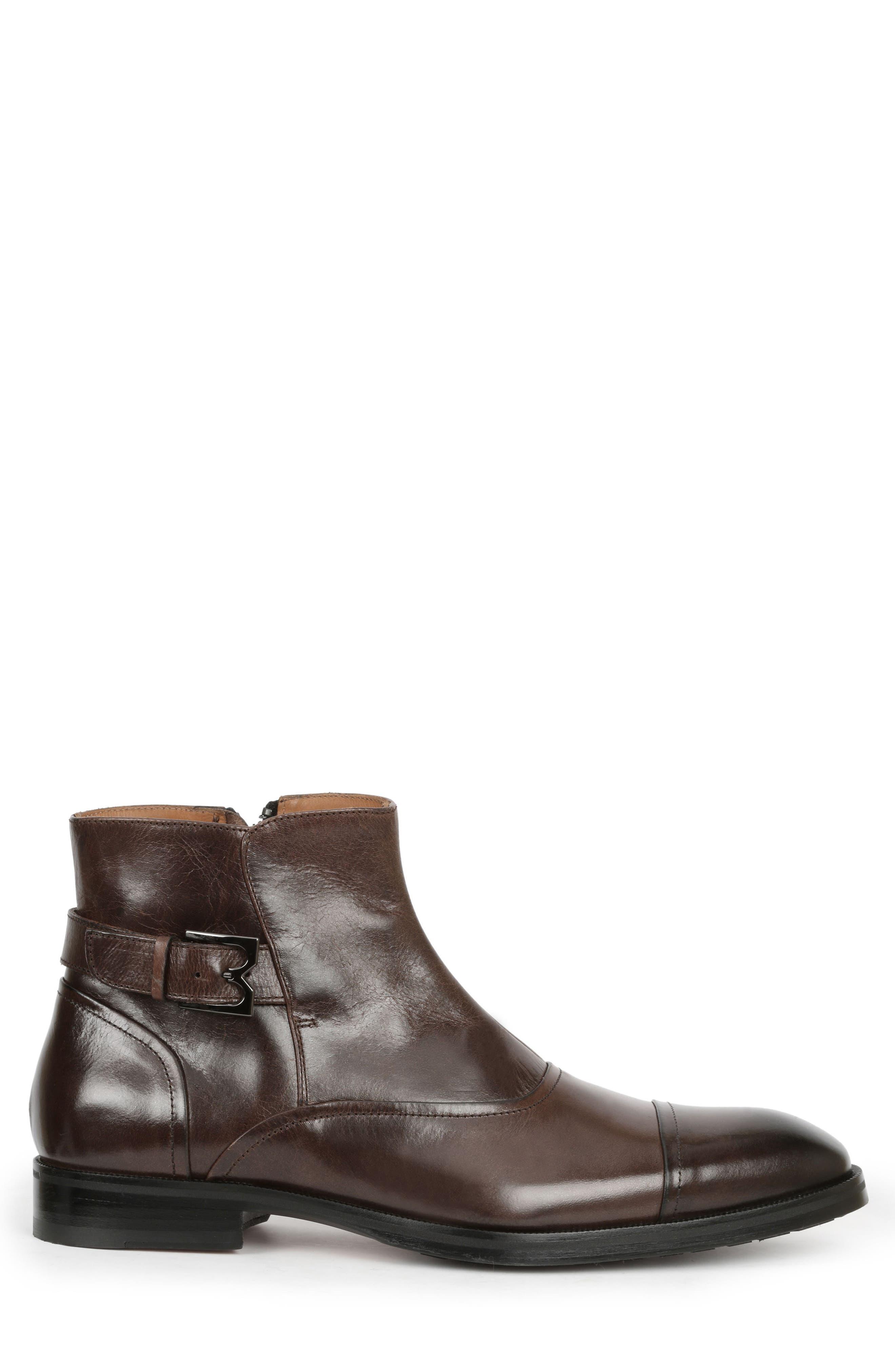 'Arcadia' Cap Toe Boot,                             Alternate thumbnail 3, color,                             Dark Brown Leather