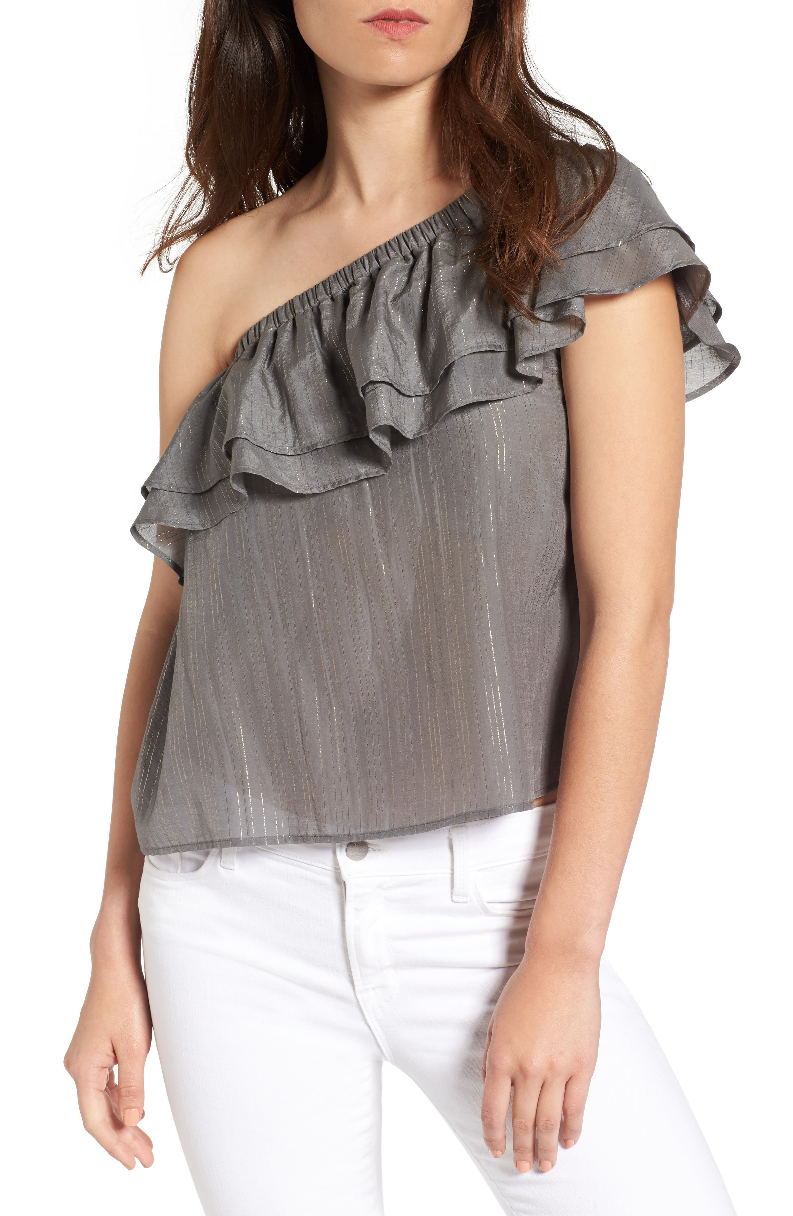 Sincerely Jules Metallic One-Shoulder Ruffle Top