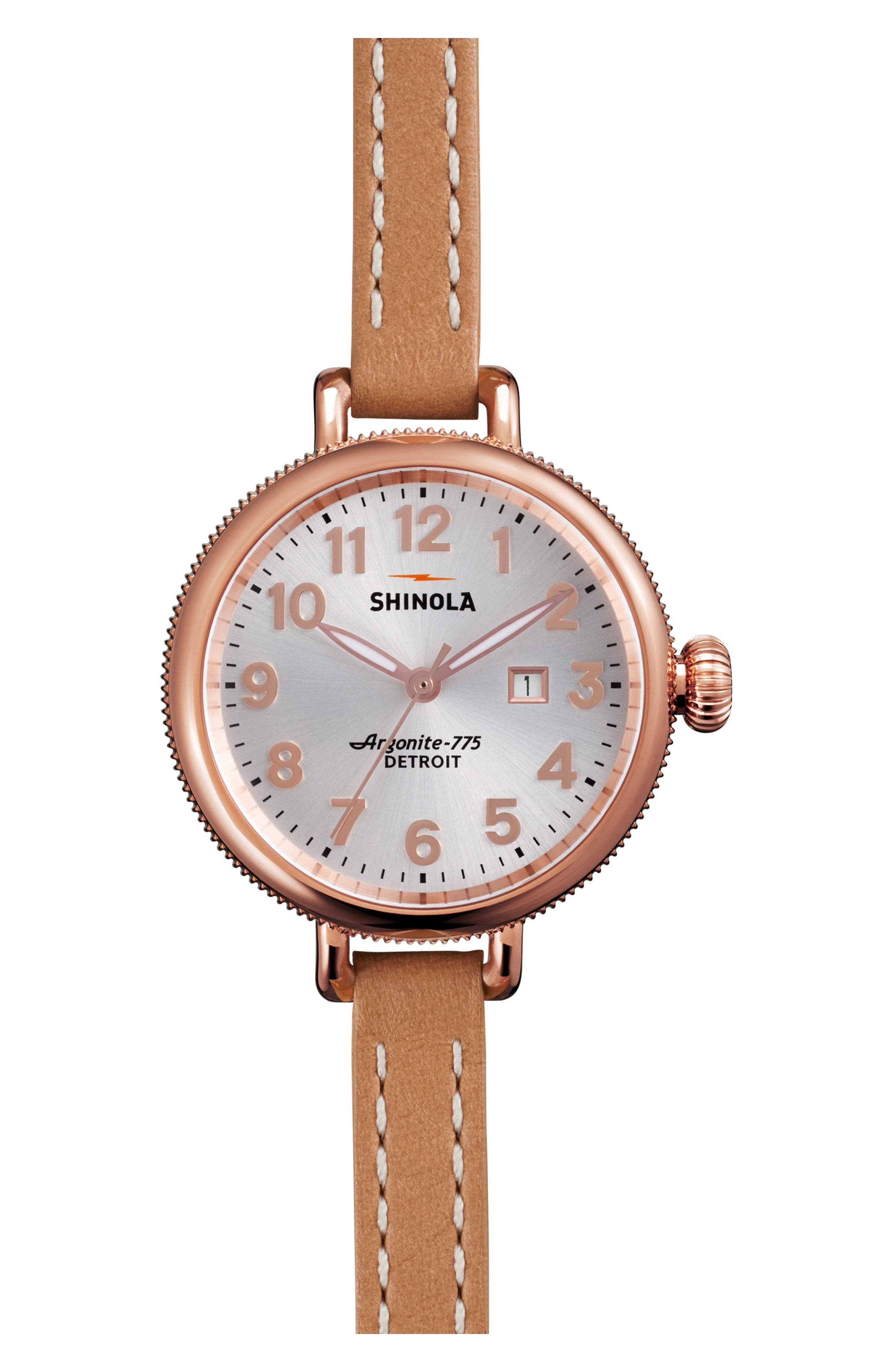 The Birdy Leather Strap Watch, 34mm,                             Main thumbnail 1, color,                             Natural/ Silver/ Rose Gold