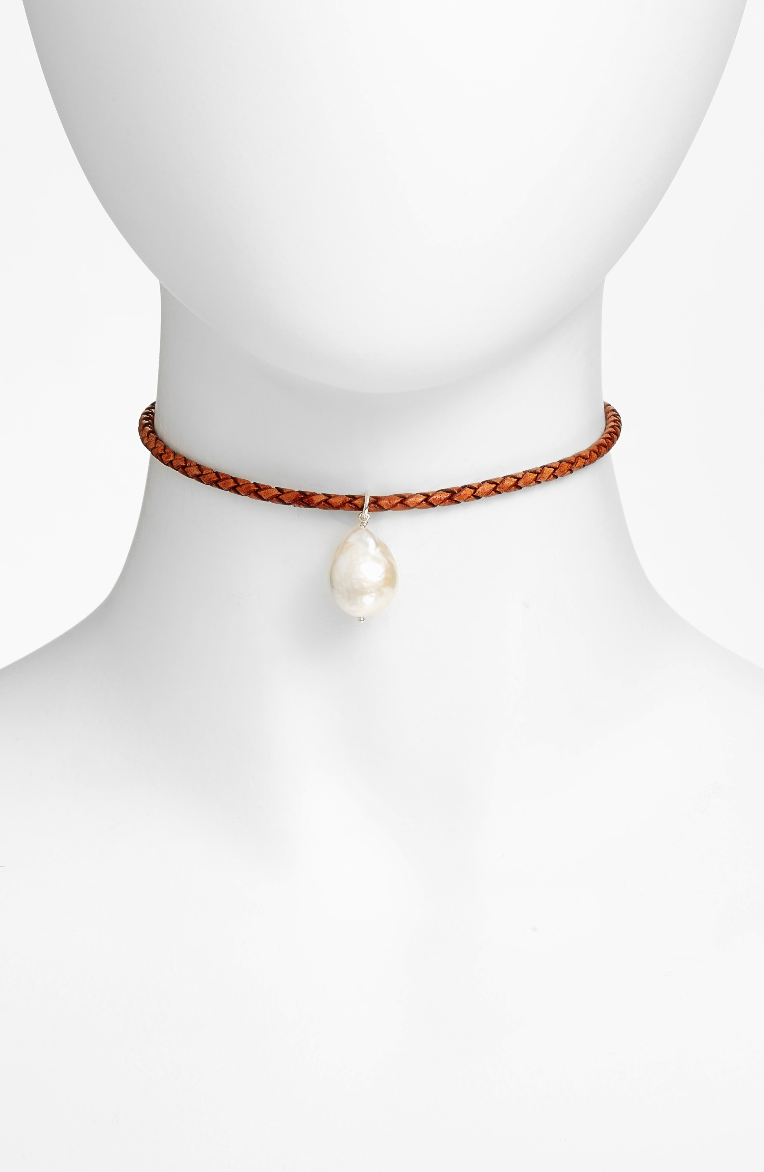 Chan Luu Pearl & Leather Choker Necklace