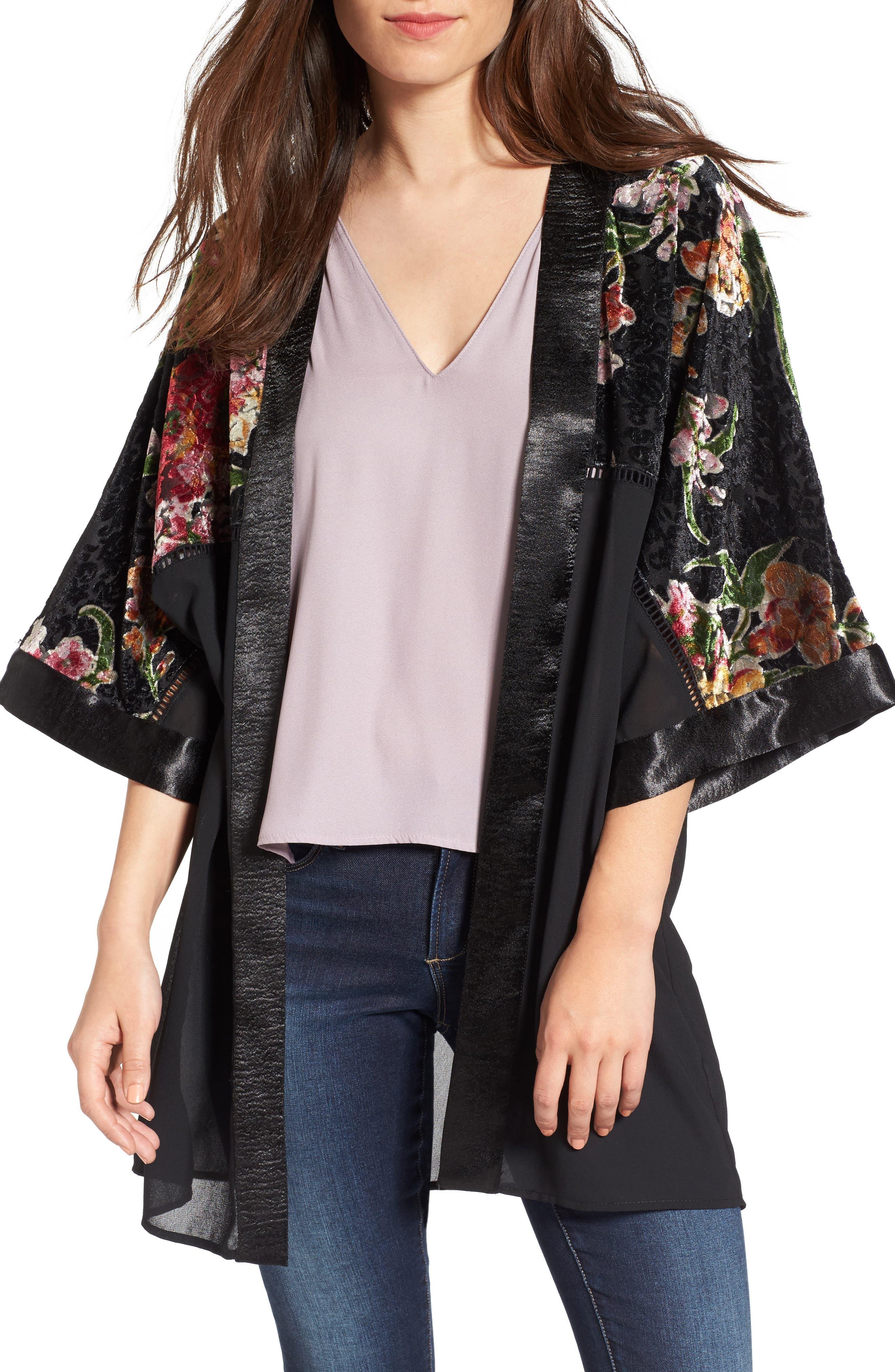 Love, Fire Burnout Floral Kimono