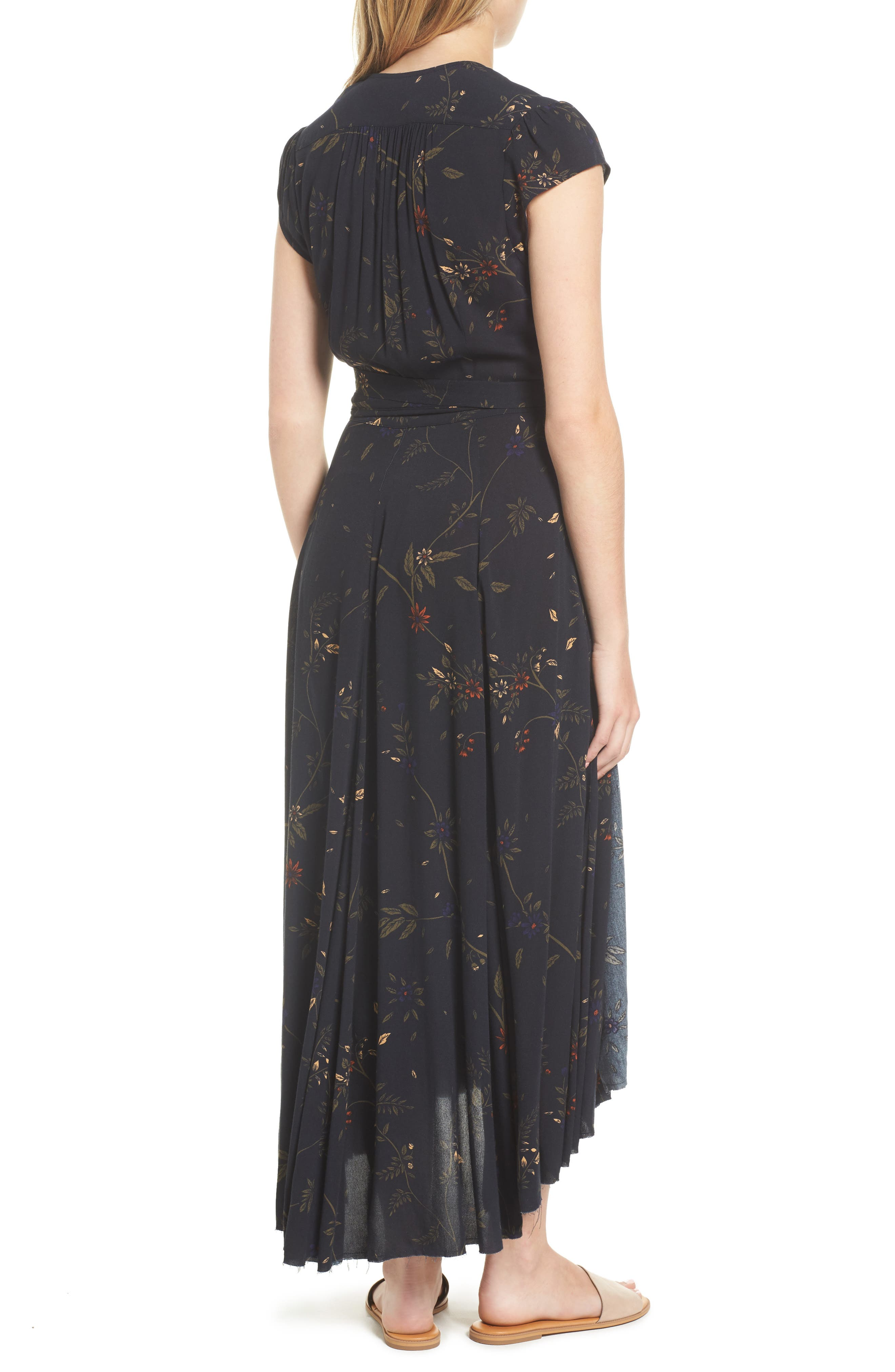 Daphne Wrap Maxi Dress,                             Alternate thumbnail 2, color,                             True Black Multi