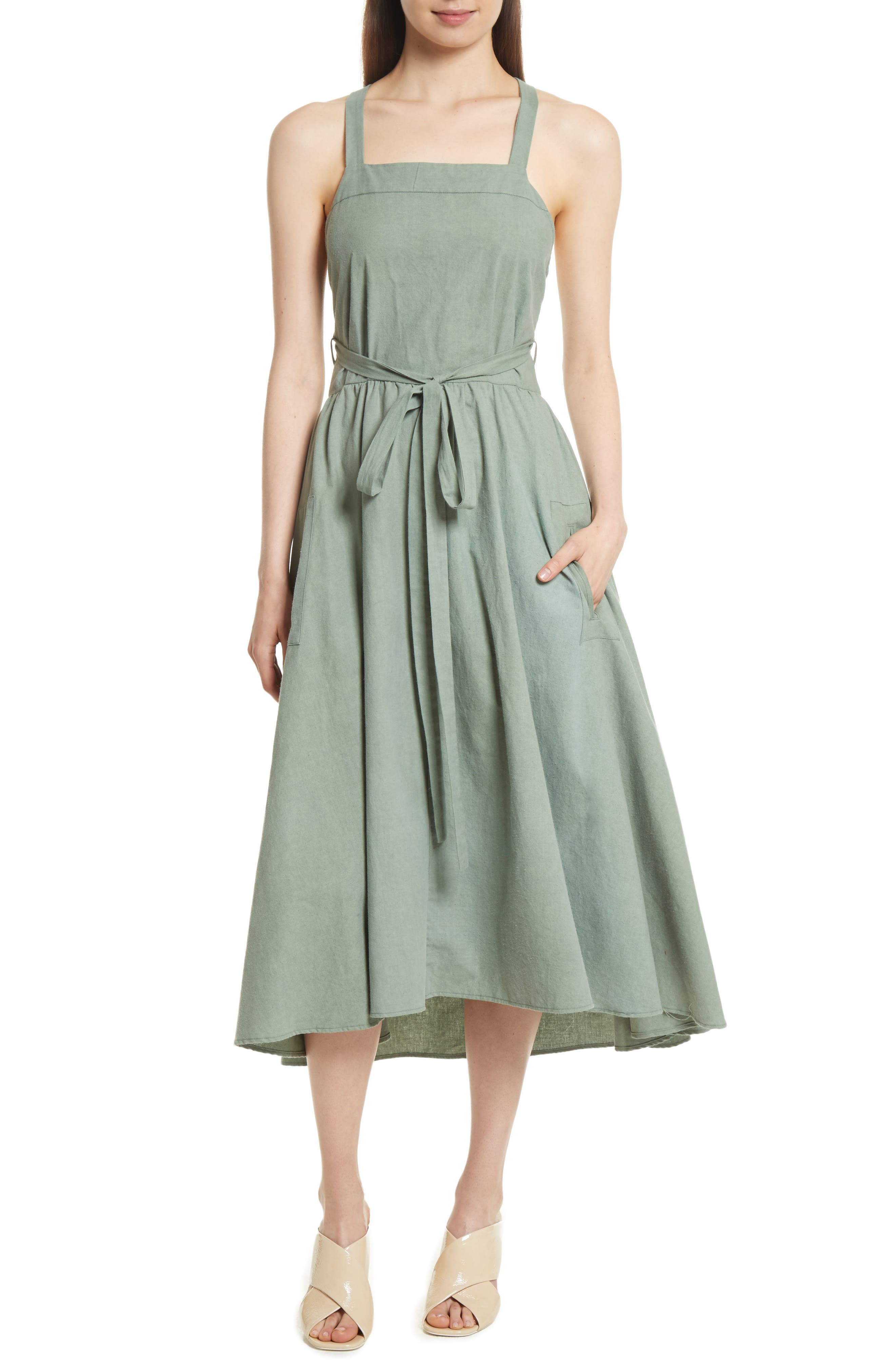 The Apron Dress,                         Main,                         color, Costal Sage