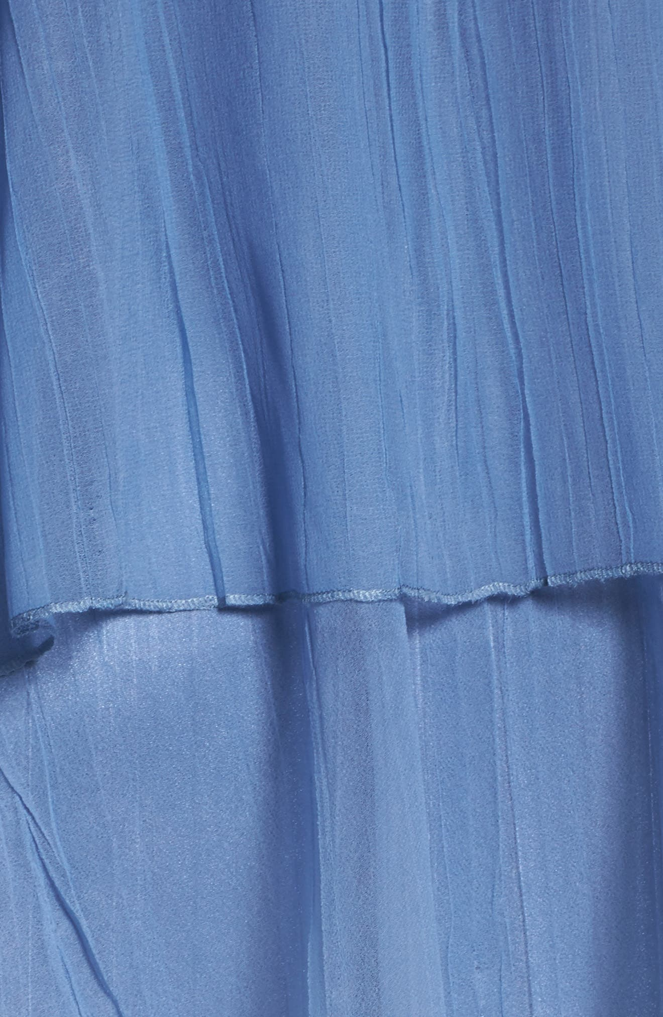 Tea-Length Dress with Capelet,                             Alternate thumbnail 5, color,                             Persian Violet Blue Ombre