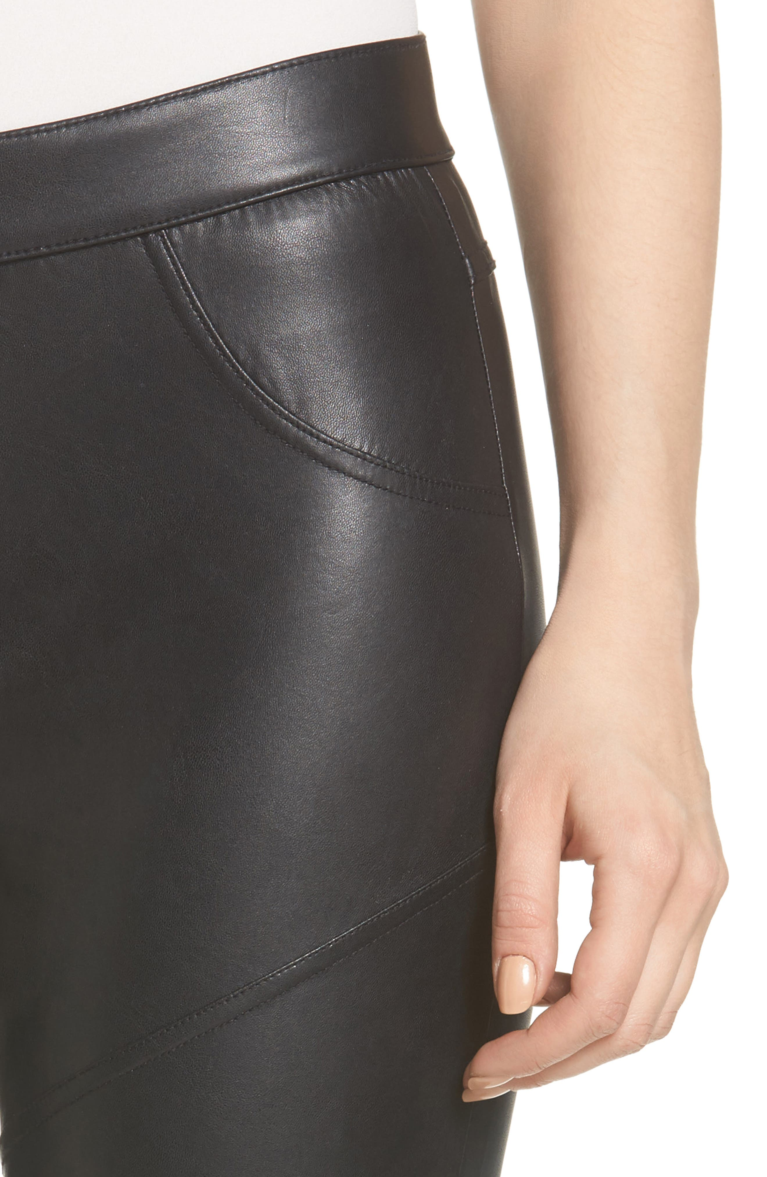 Alternate Image 5  - Hue Moto Leatherette Skimmer Leggings