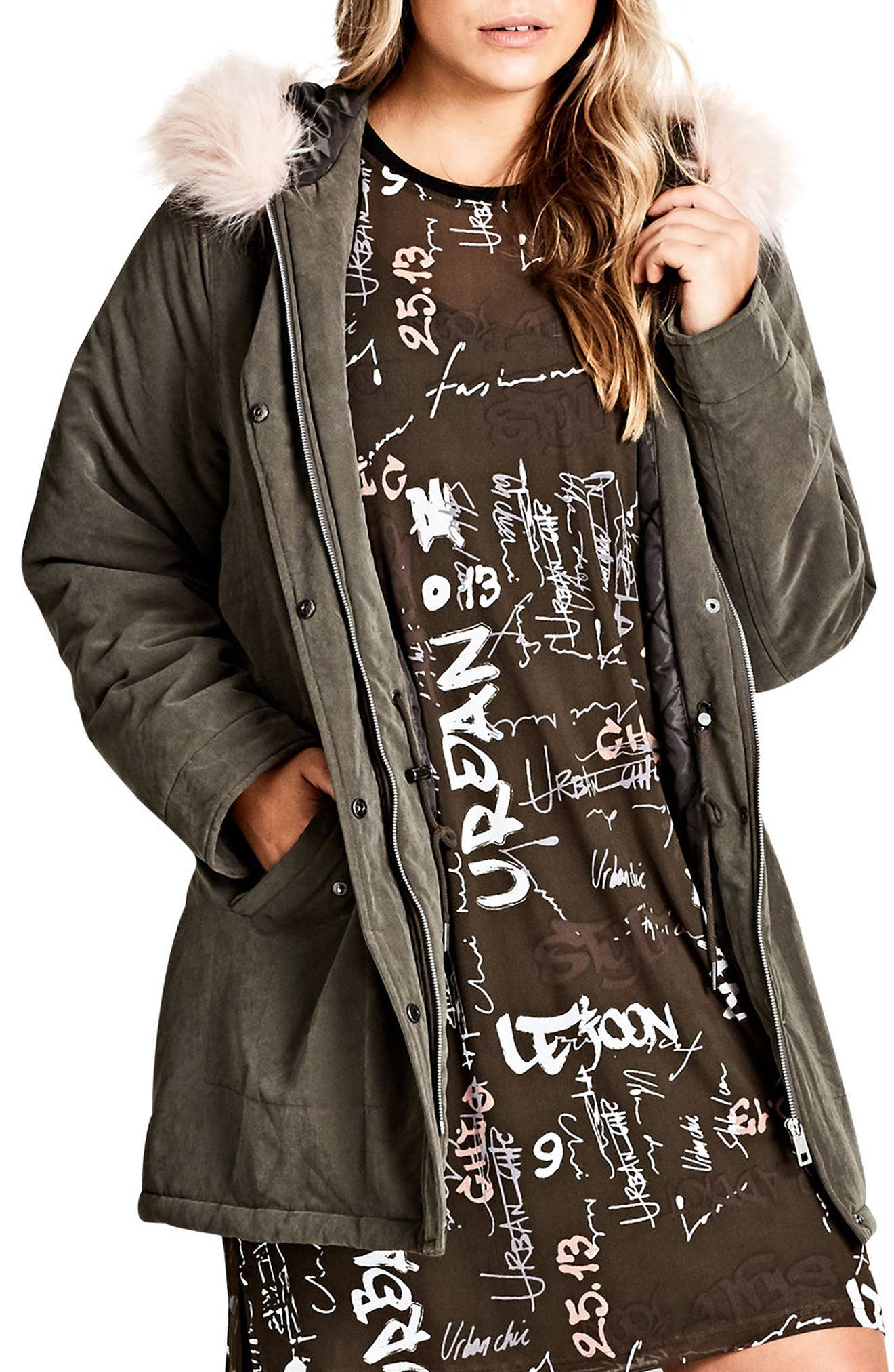 City Chic Pretty Girl Hooded Parka with Faux Fur Trim (Plus Size)