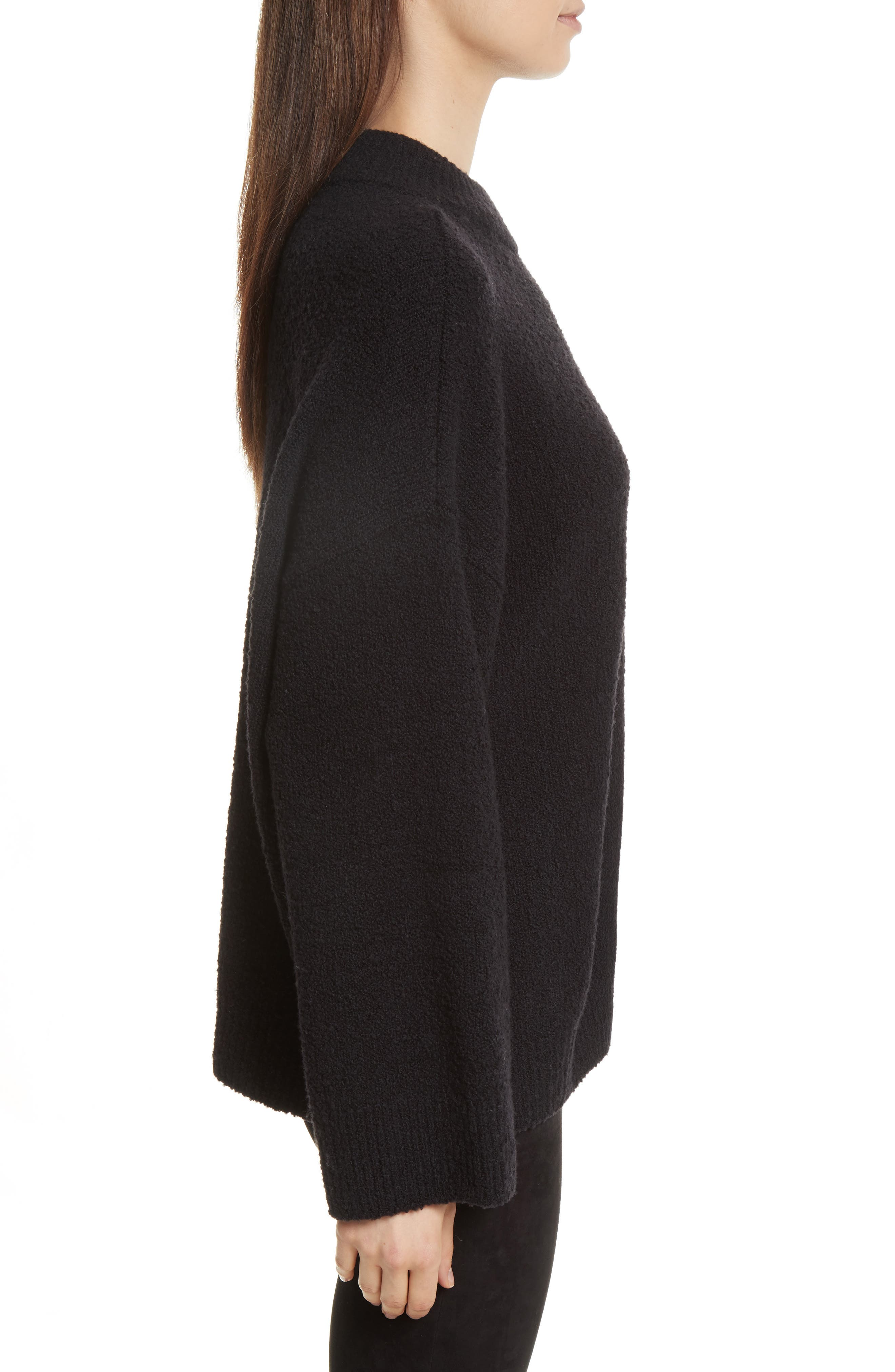 Boxy Knit Pullover,                             Alternate thumbnail 3, color,                             Black