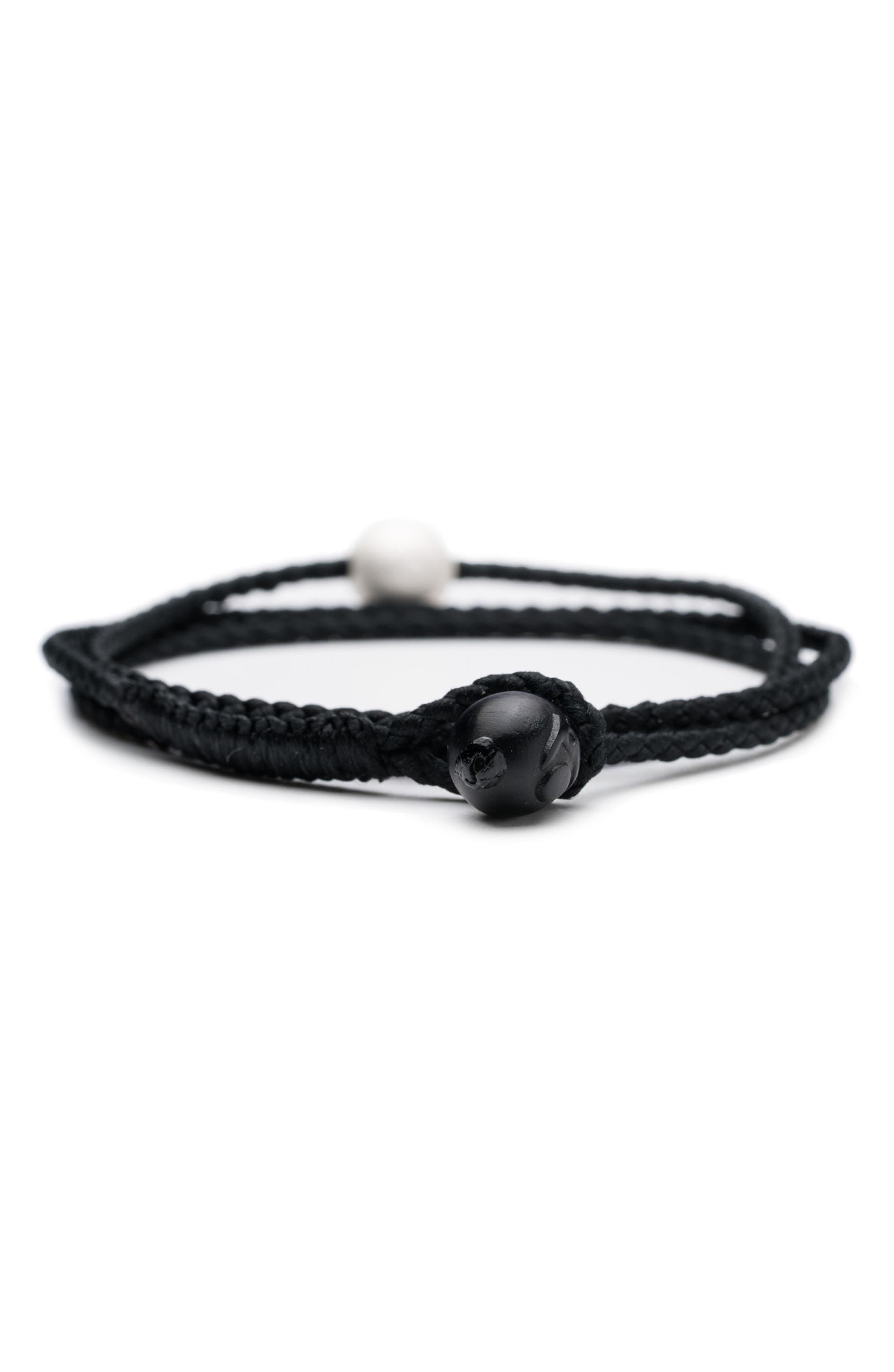 Triple Wrap Bracelet,                             Alternate thumbnail 4, color,                             Black