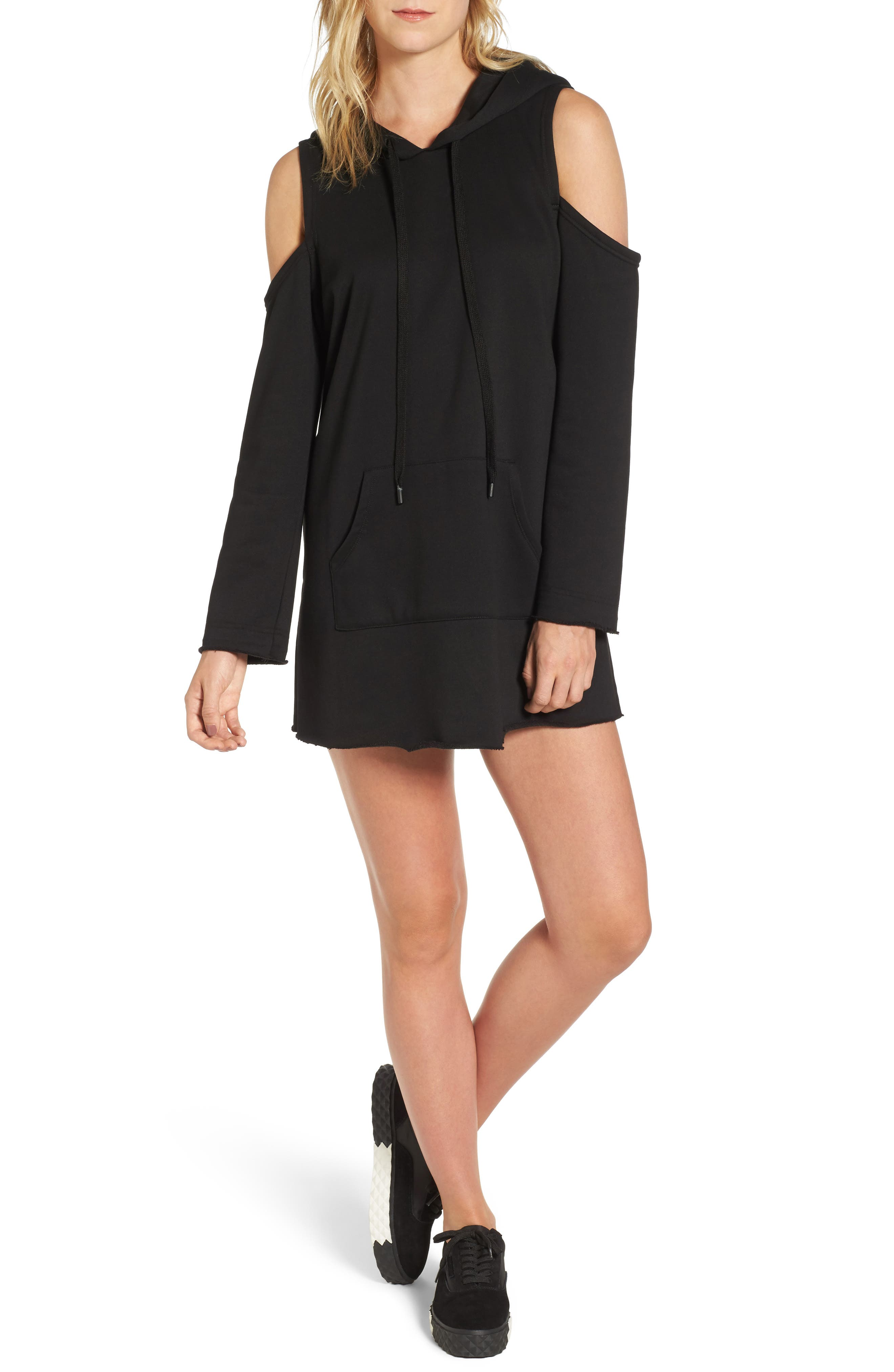 KENDALL + KYLIE Cold Shoulder Hoodie Dress