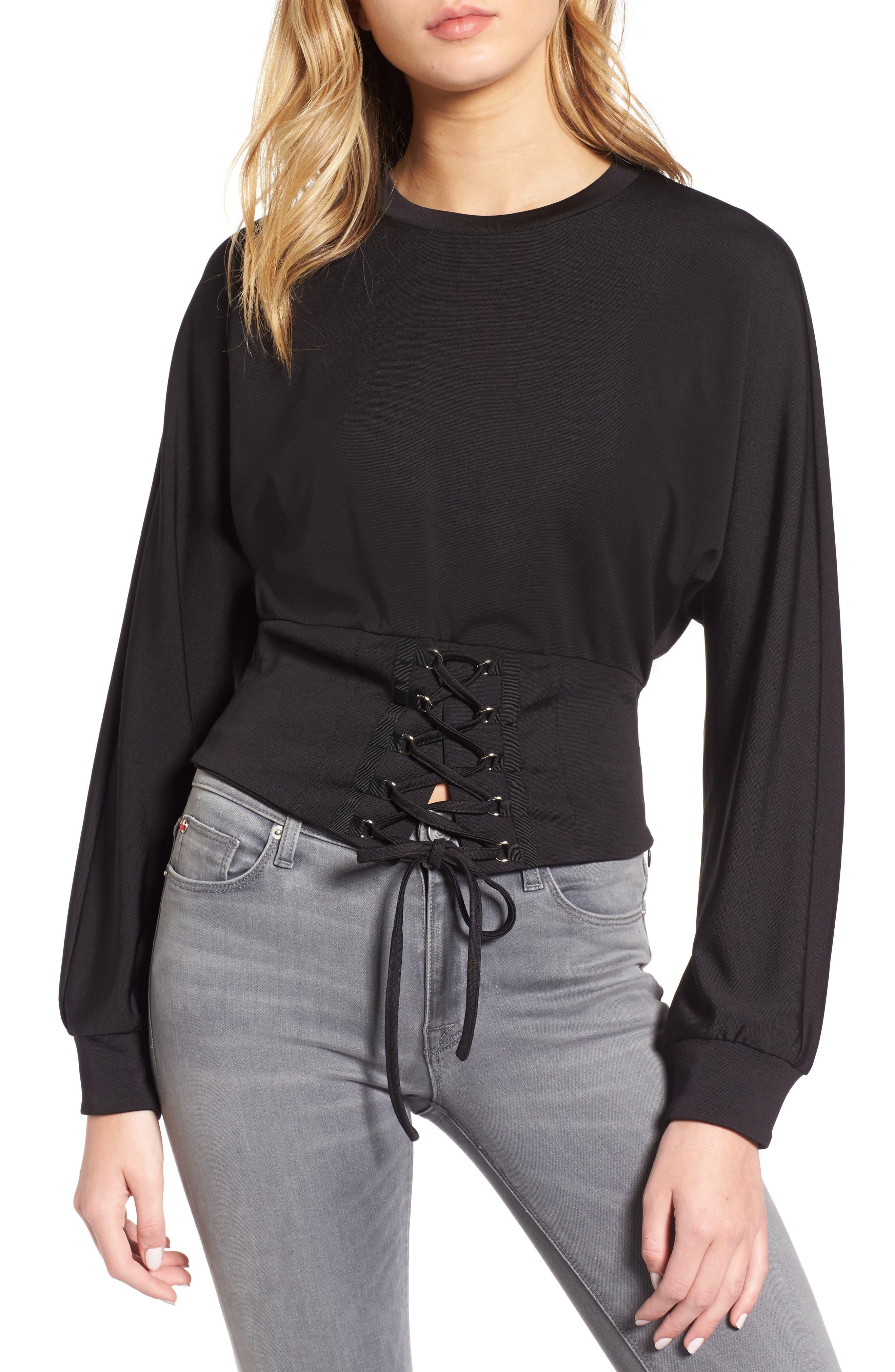 Mila Lace-Up Top,                         Main,                         color, Black