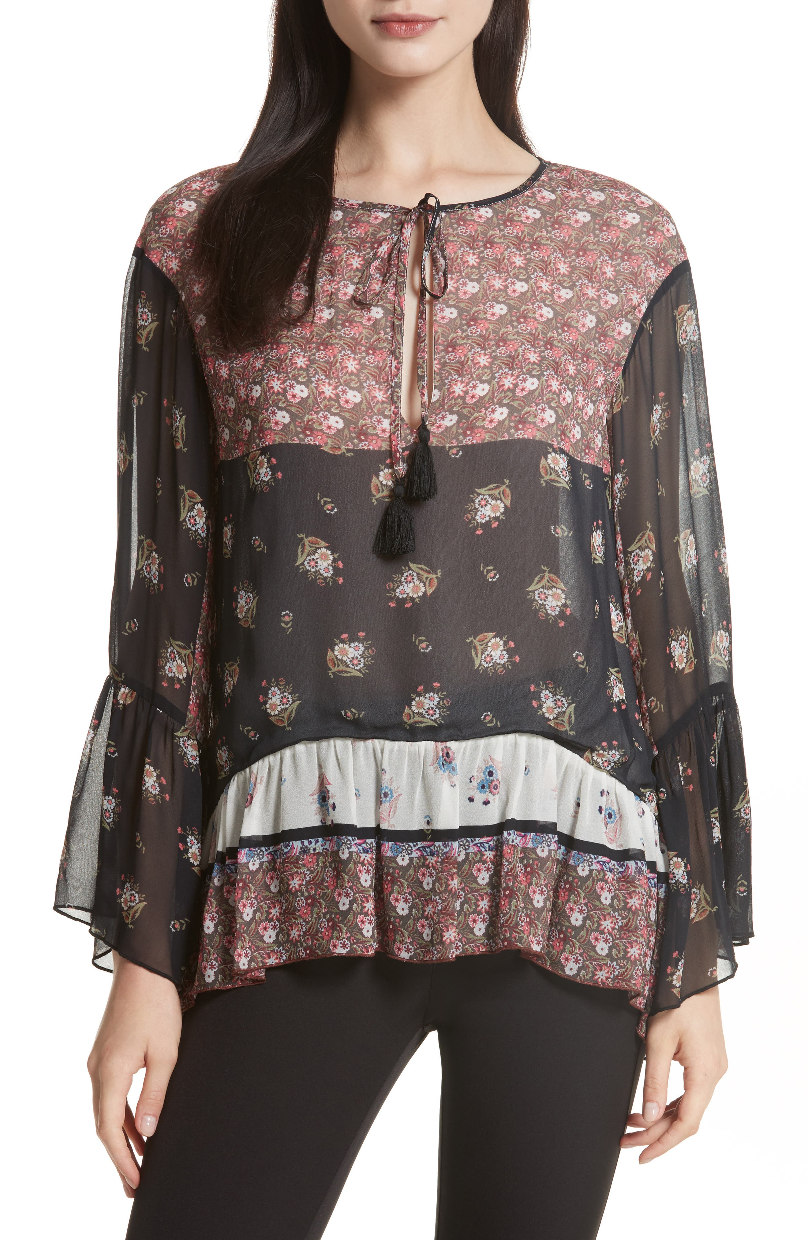 Willa Bell Sleeve Top,                         Main,                         color, Ditsy Scarf Print