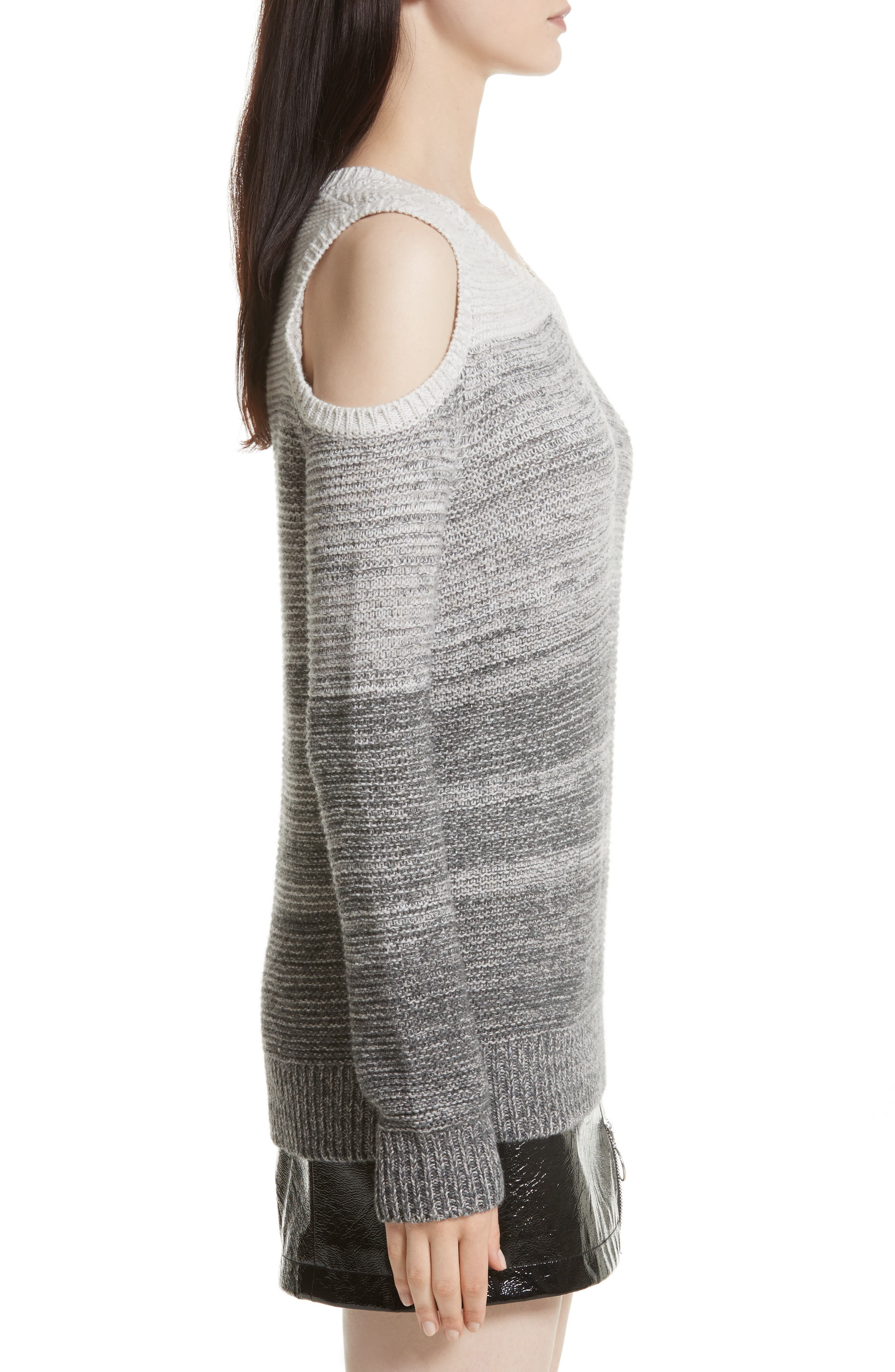 Page Cold Shoulder Sweater,                             Alternate thumbnail 3, color,                             Grey Ombre