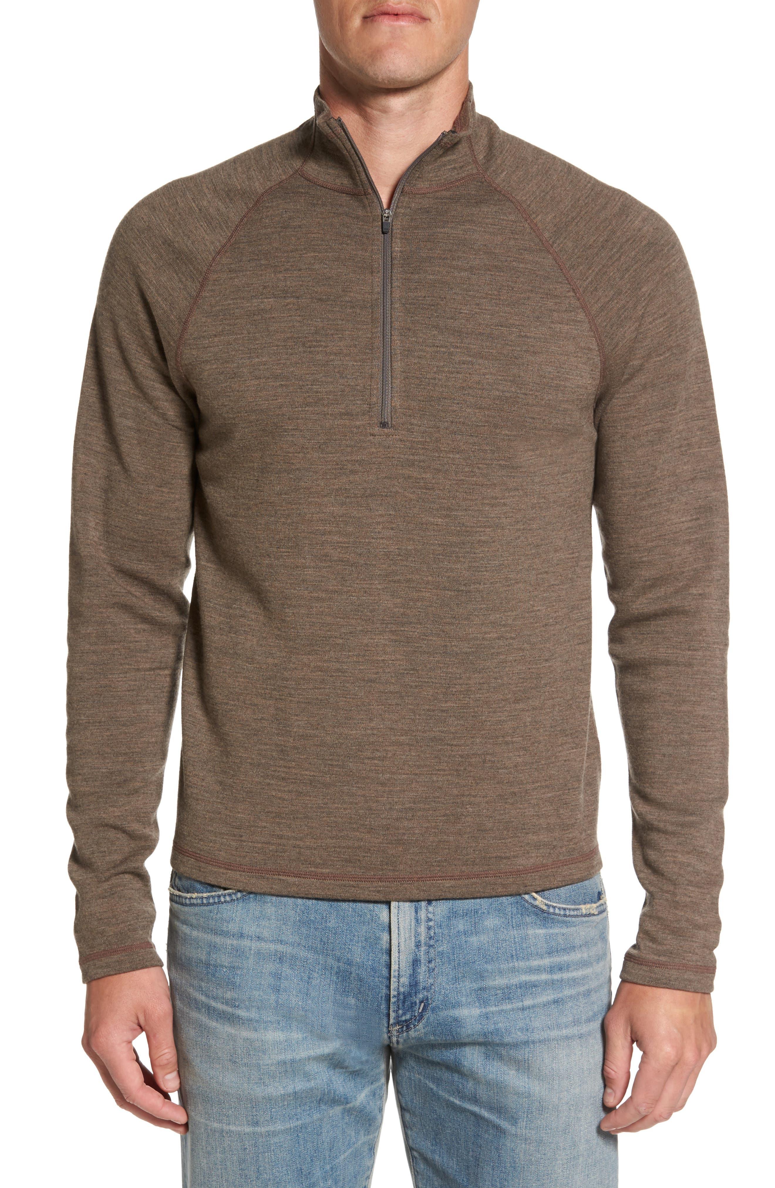 'Shak' Merino Wool Quarter Zip Top,                         Main,                         color, Dark Rye Heather