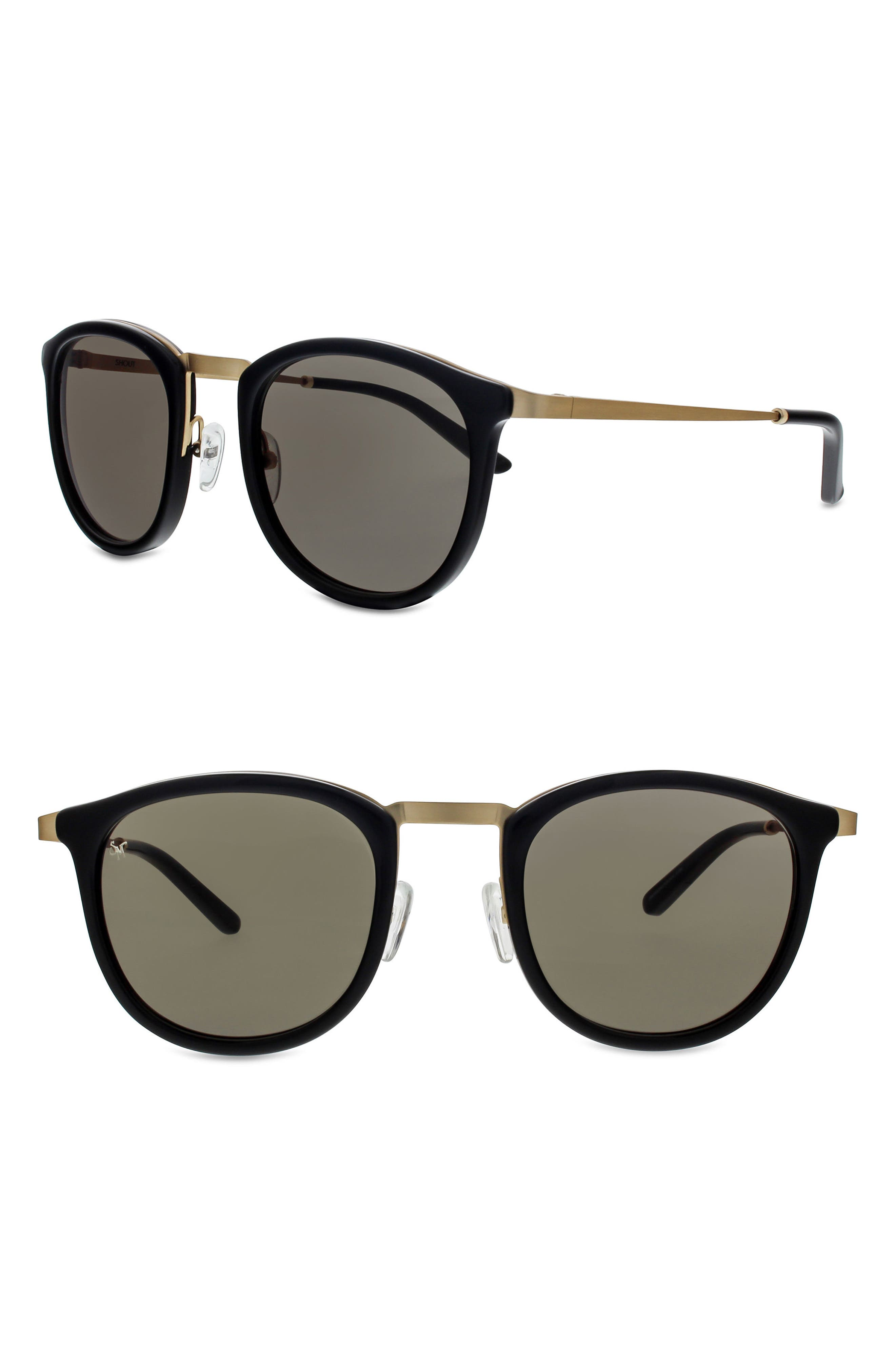 Shout 49mm Retro Sunglasses,                         Main,                         color, Black/ Brushed Gold