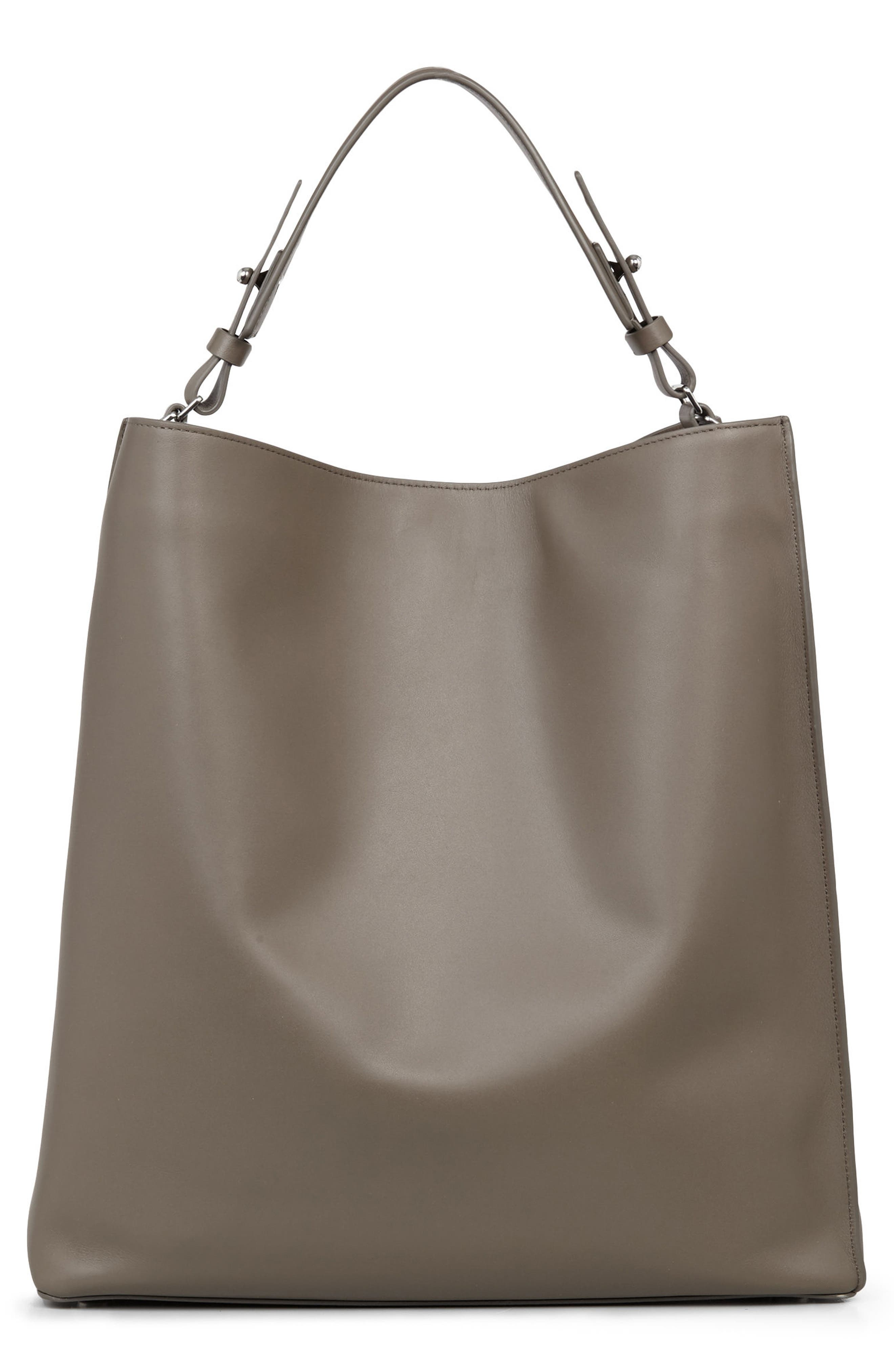 Cooper East/West Calfskin Leather Tote,                             Alternate thumbnail 3, color,                             Ash Grey