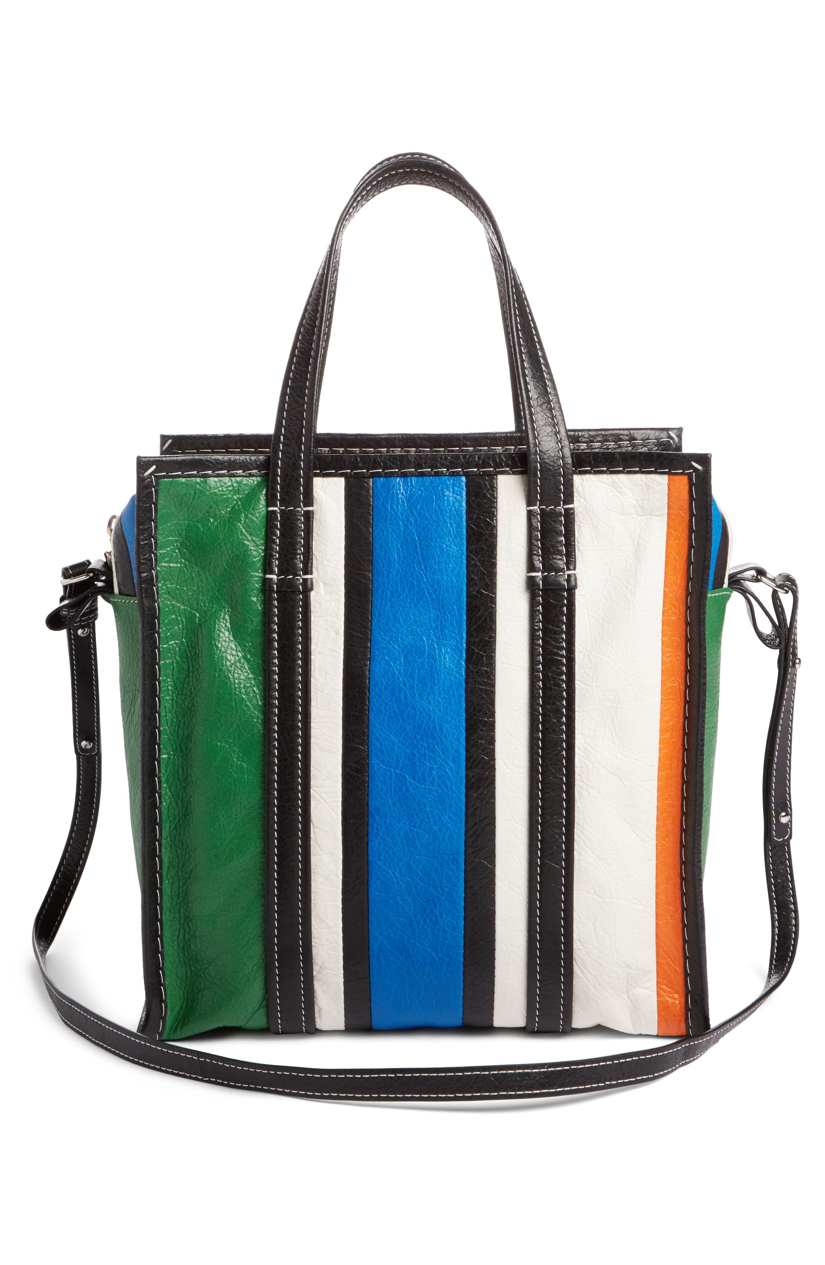 Extra Small Bazar Leather Shopper,                             Alternate thumbnail 2, color,                             Orange/ Blue/ Vert/ Navy