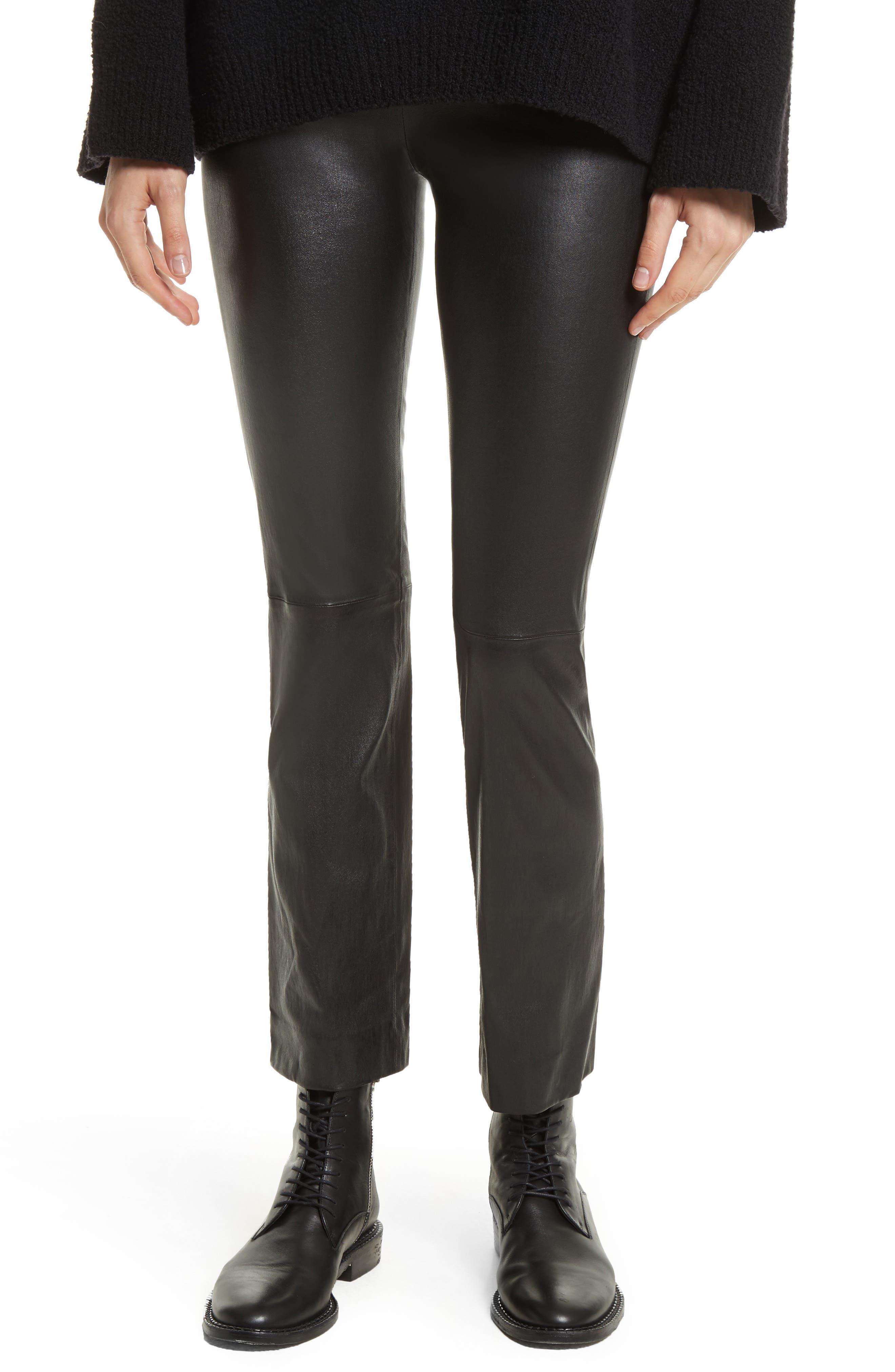 Flare Lambskin Leather Leggings,                             Main thumbnail 1, color,                             Black