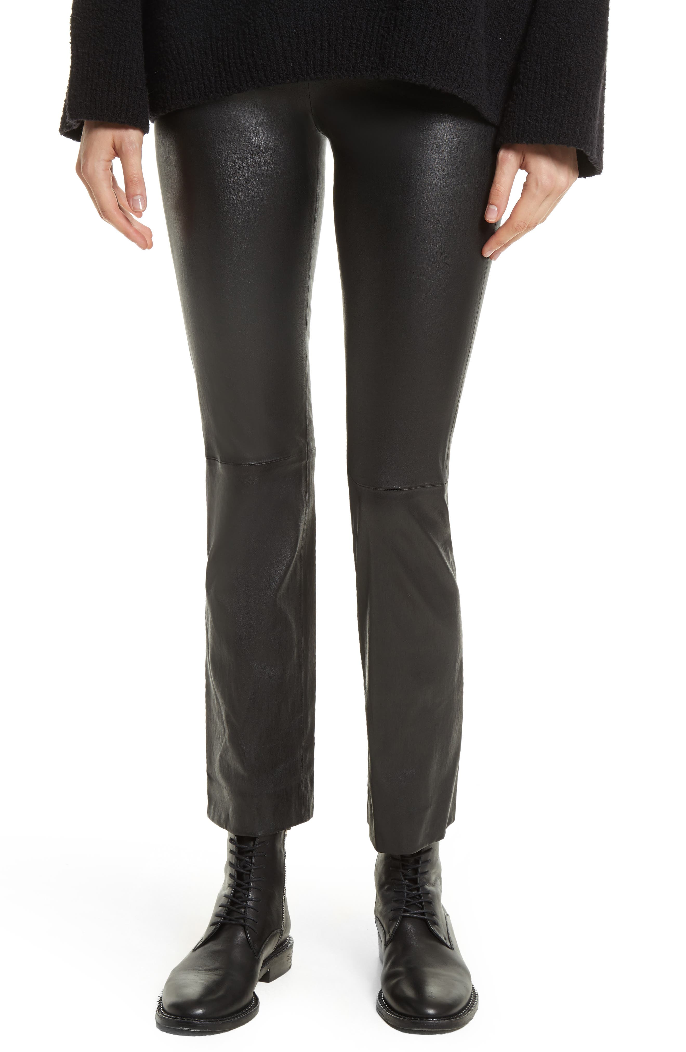 Flare Lambskin Leather Leggings,                         Main,                         color, Black