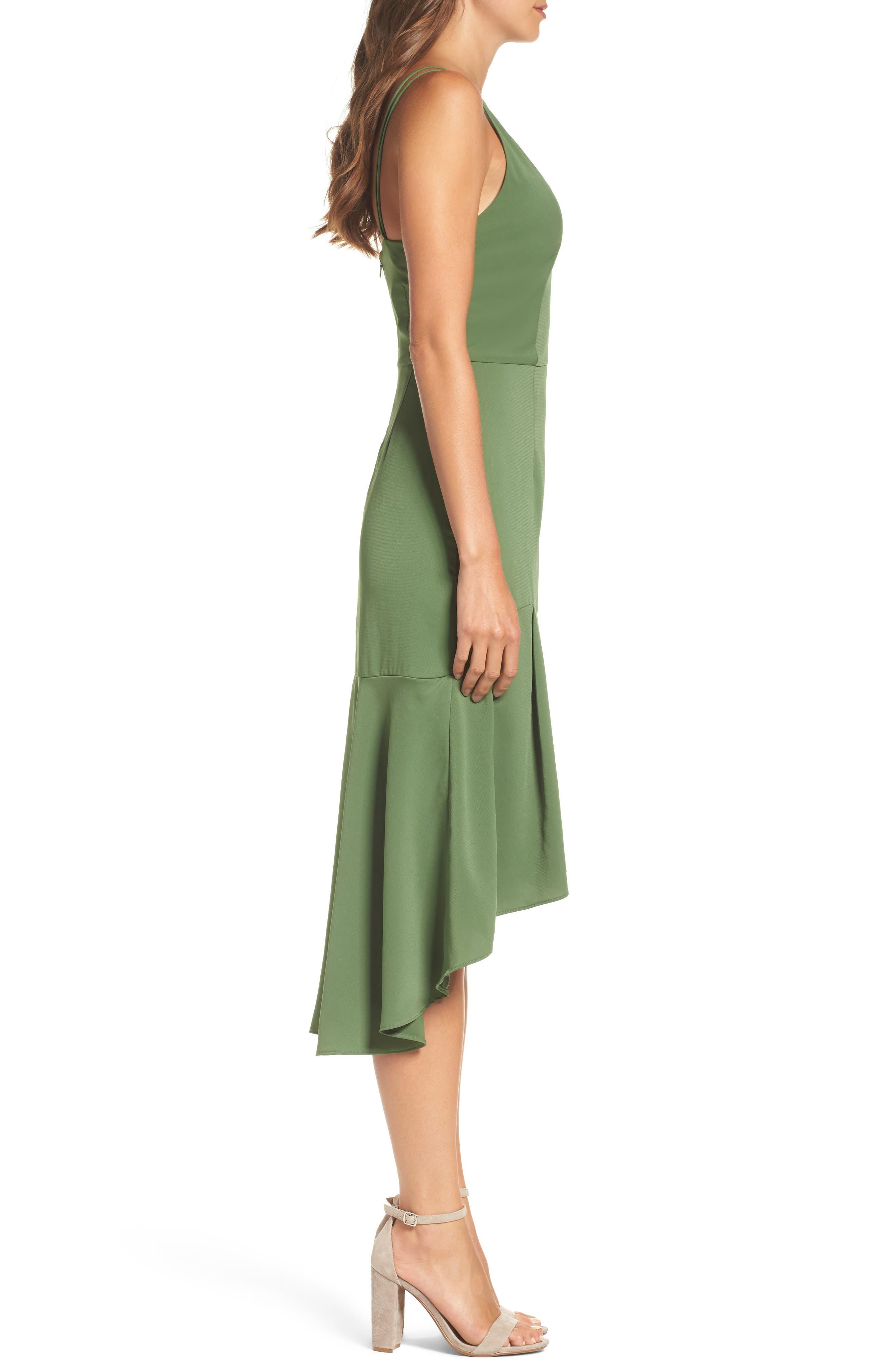 Lovine Midi Dress,                             Alternate thumbnail 3, color,                             Moss Green