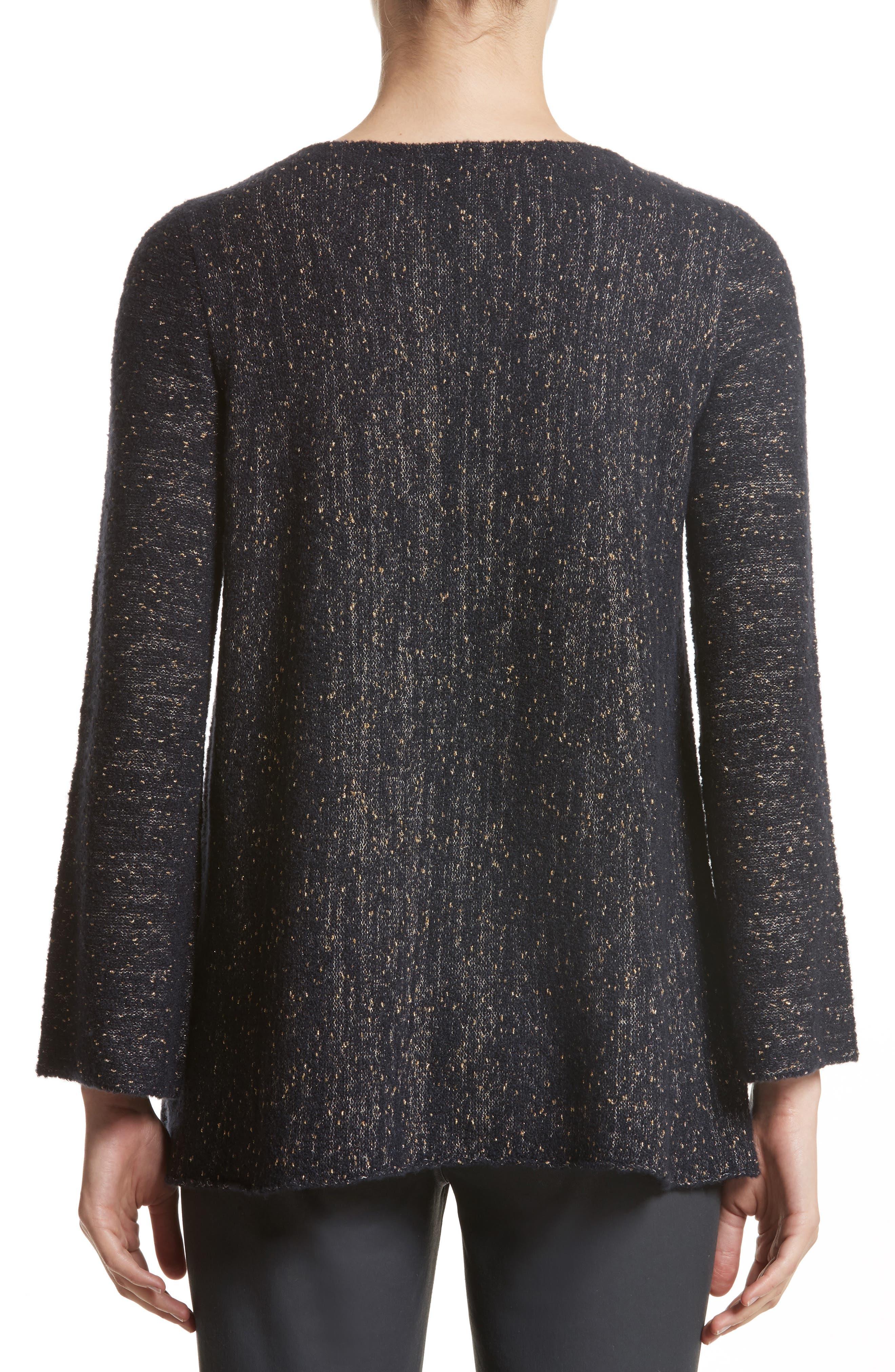 Lafayette Metallic Knit A-Line Sweater,                             Alternate thumbnail 2, color,                             Ink Metallic