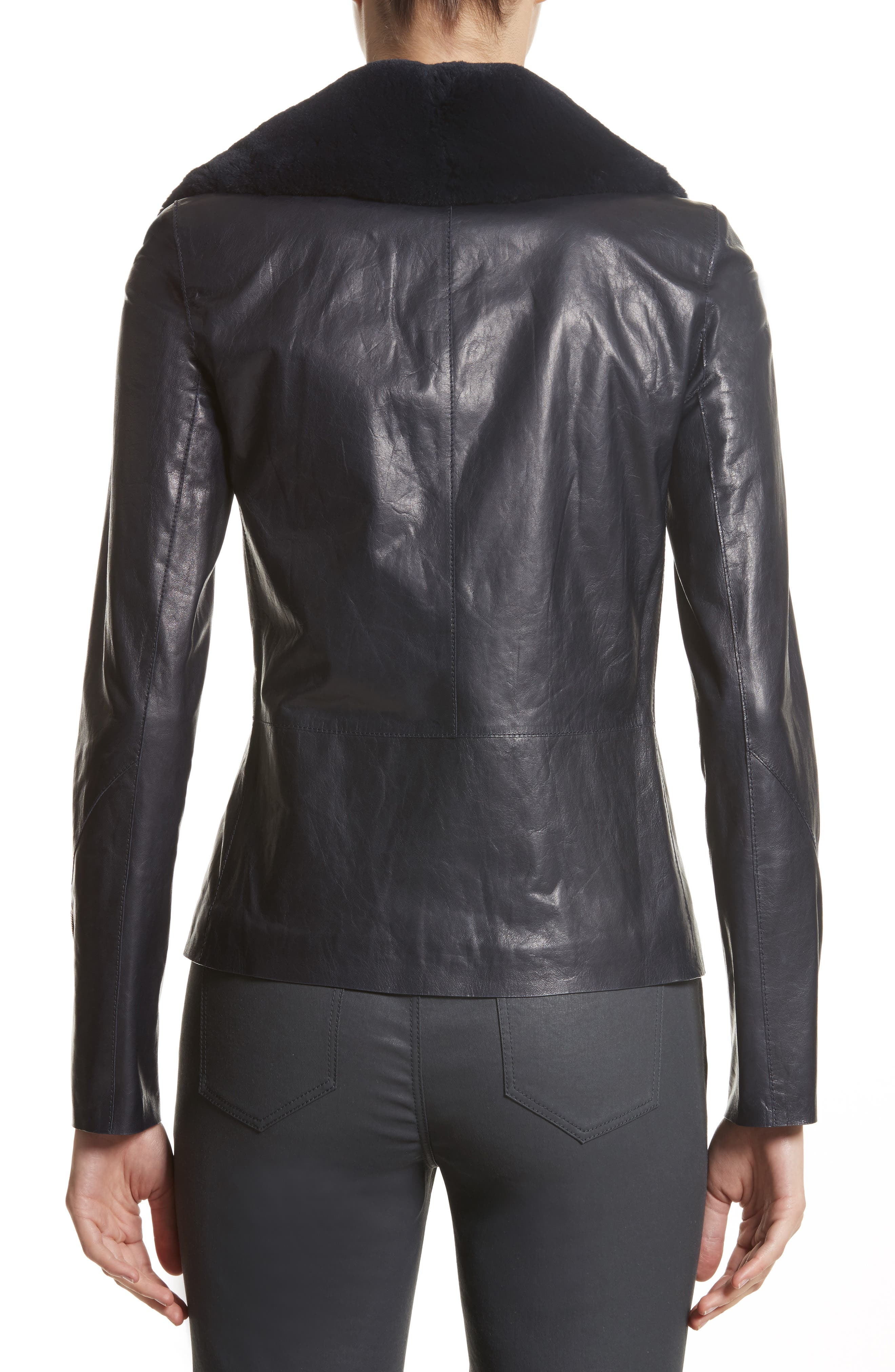 Kimbry Leather Jacket with Removable Genuine Rex Rabbit Fur Collar,                             Alternate thumbnail 2, color,                             Ink