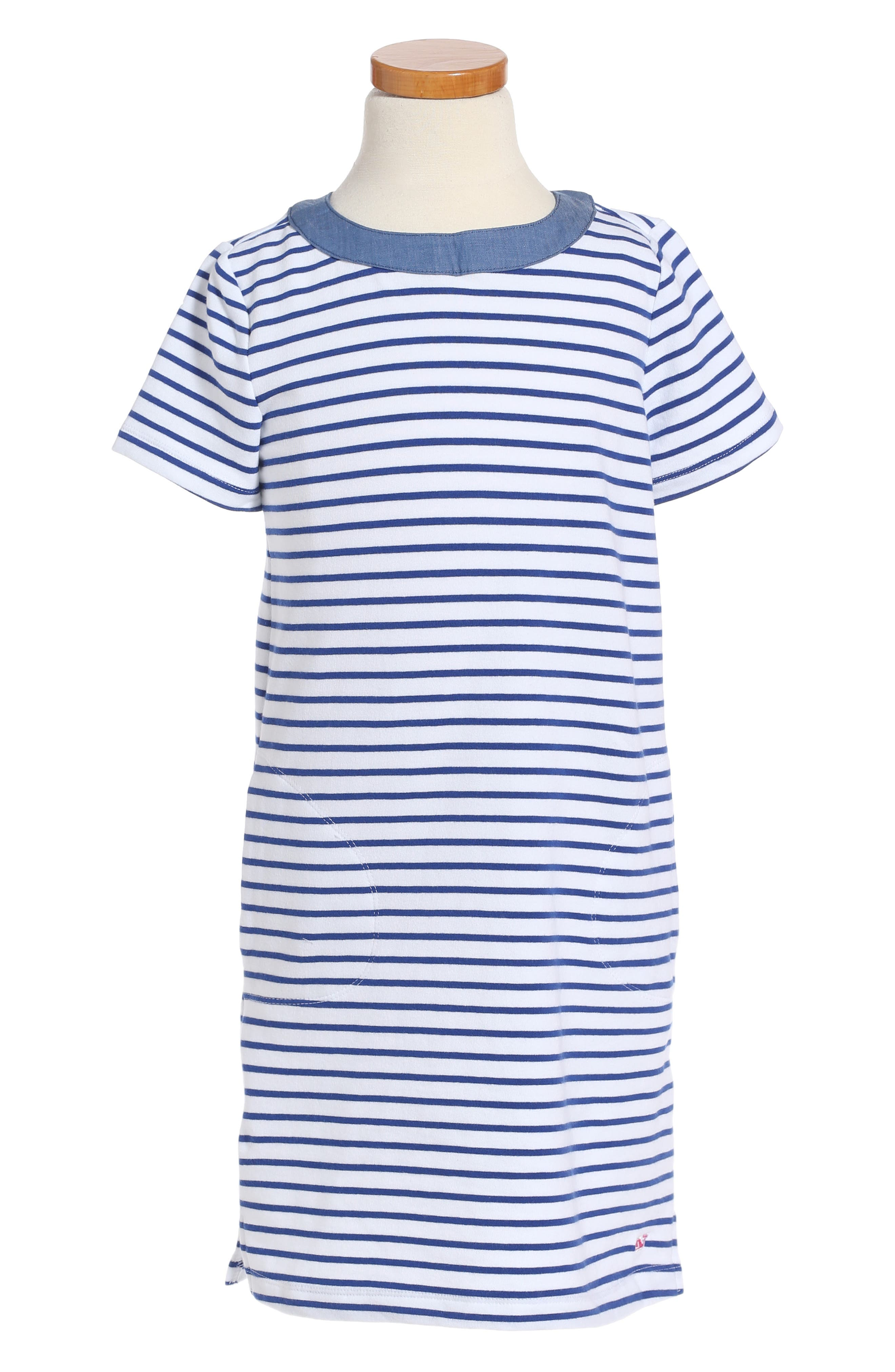 Main Image - vineyard vines Stripe Stretch Cotton Shift Dress (Little Girls & Big Girls)