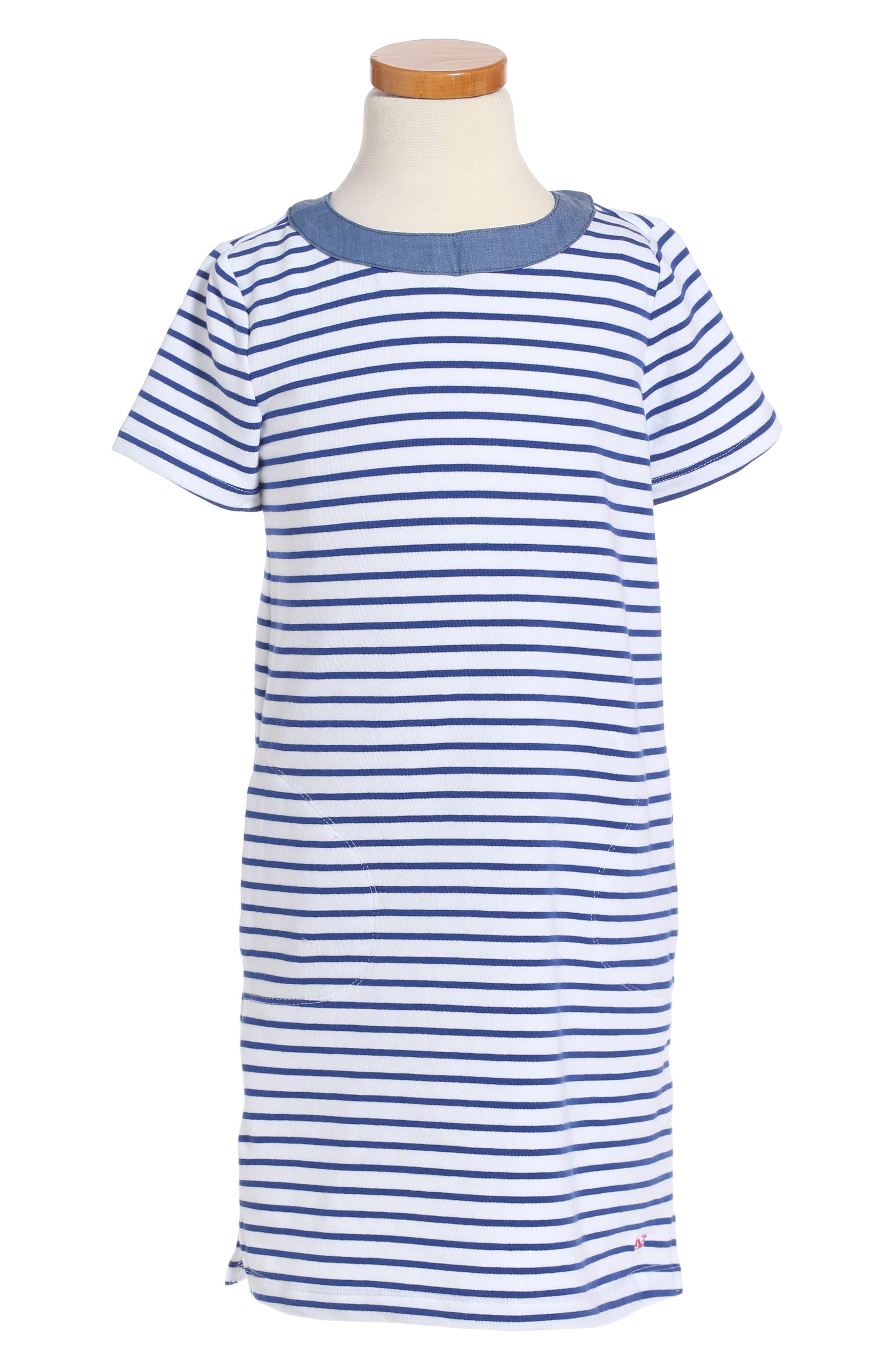 Stripe Stretch Cotton Shift Dress,                         Main,                         color, Royal Ocean