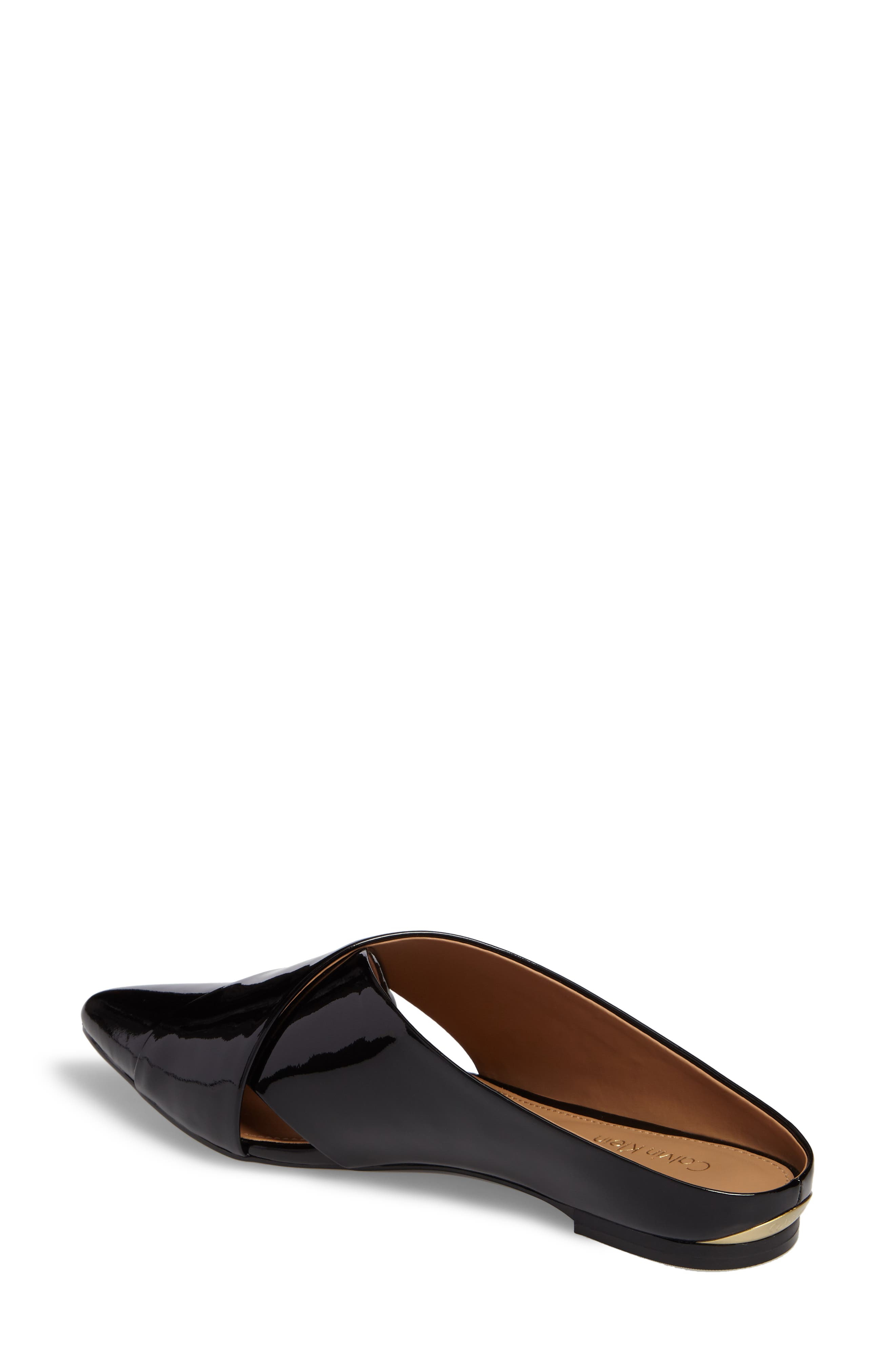 Gerda Cross Strap Mule,                             Alternate thumbnail 2, color,                             Black Patent