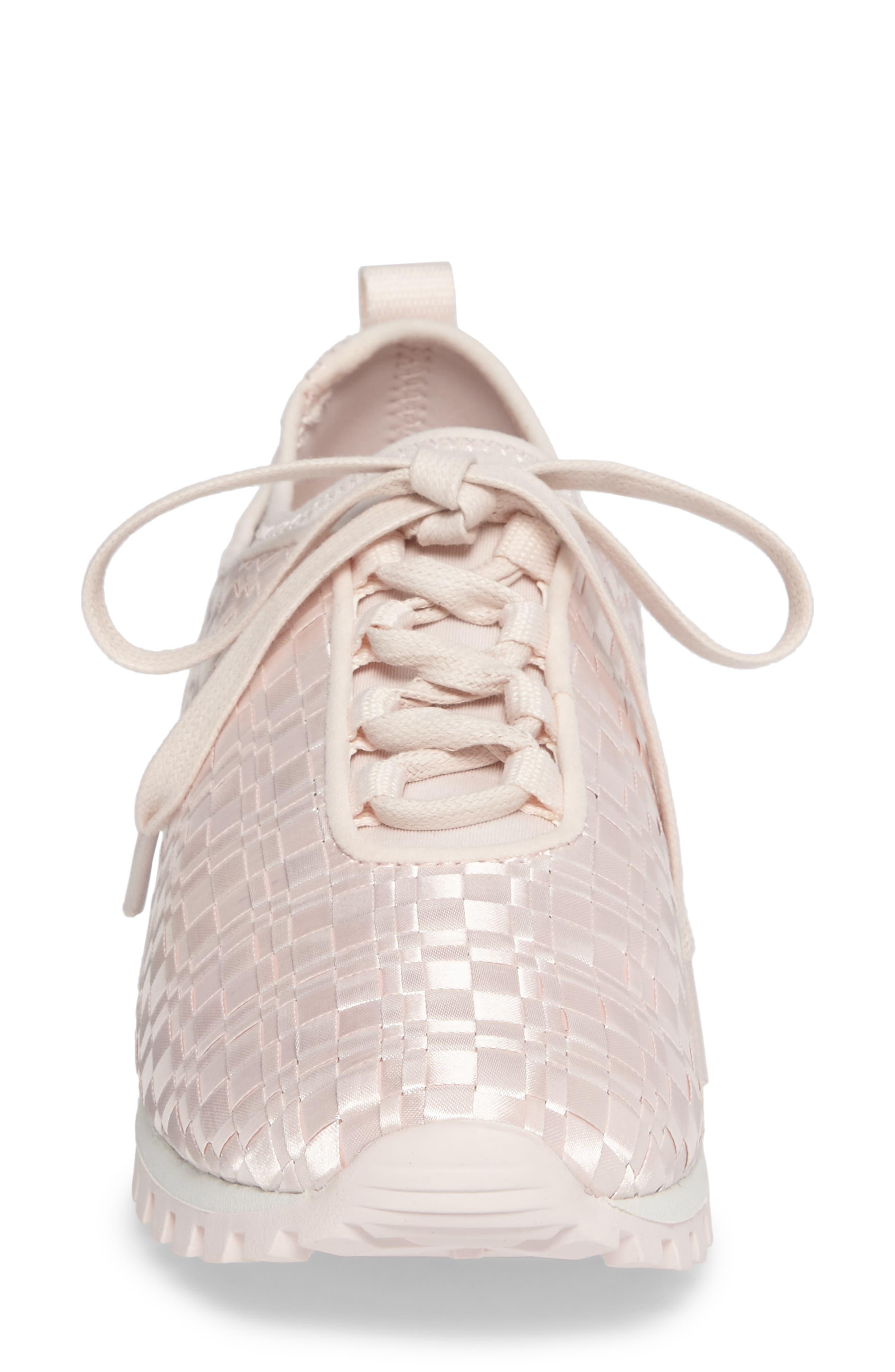 Lynn Sock Fit Woven Sneaker,                             Alternate thumbnail 4, color,                             Dusty Rose