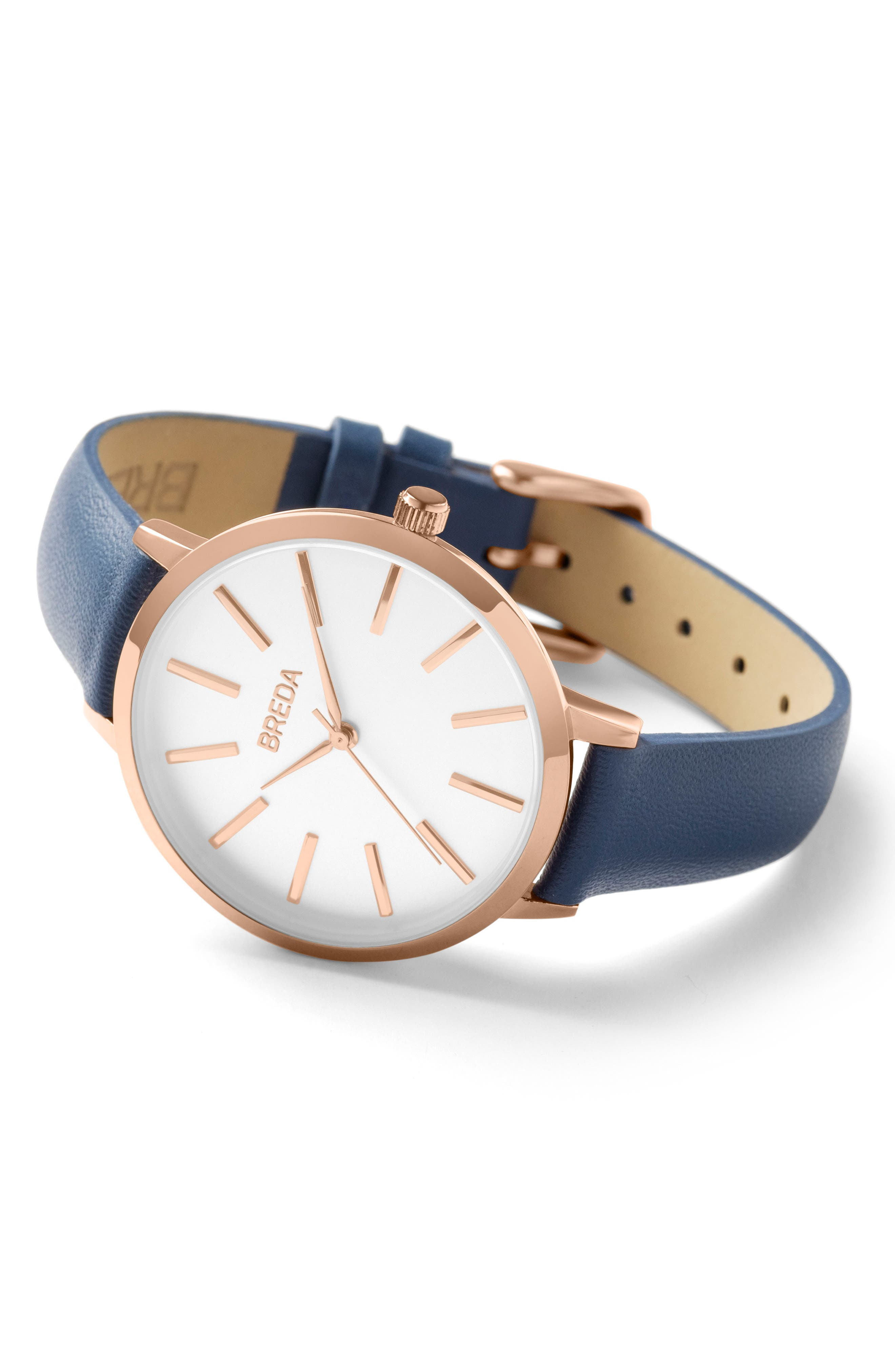 Joule Round Leather Strap Watch, 37mm,                             Alternate thumbnail 2, color,                             Navy/ White/ Rose Gold