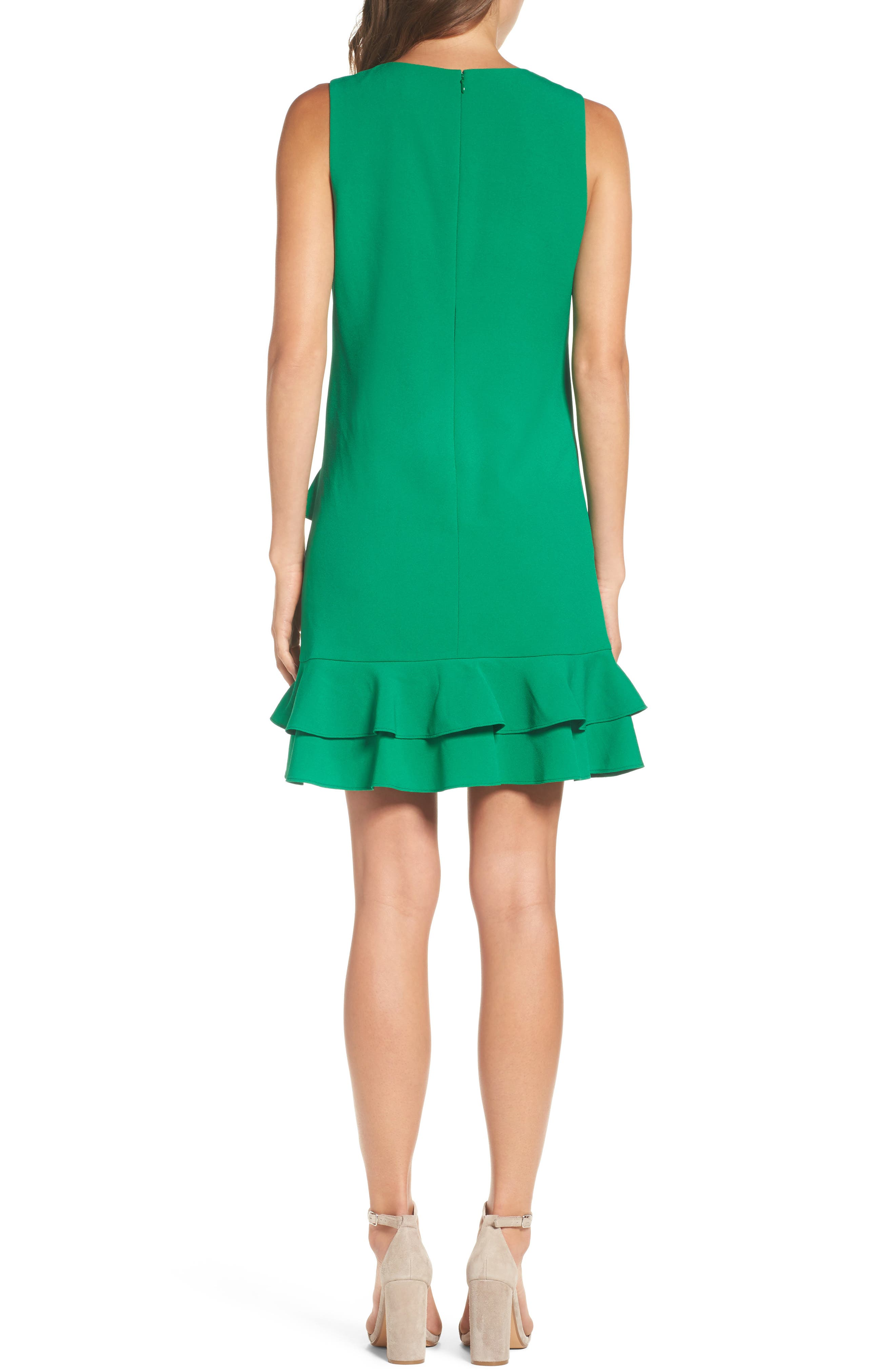 Ruffle Hem Shift Dress,                             Alternate thumbnail 2, color,                             Green