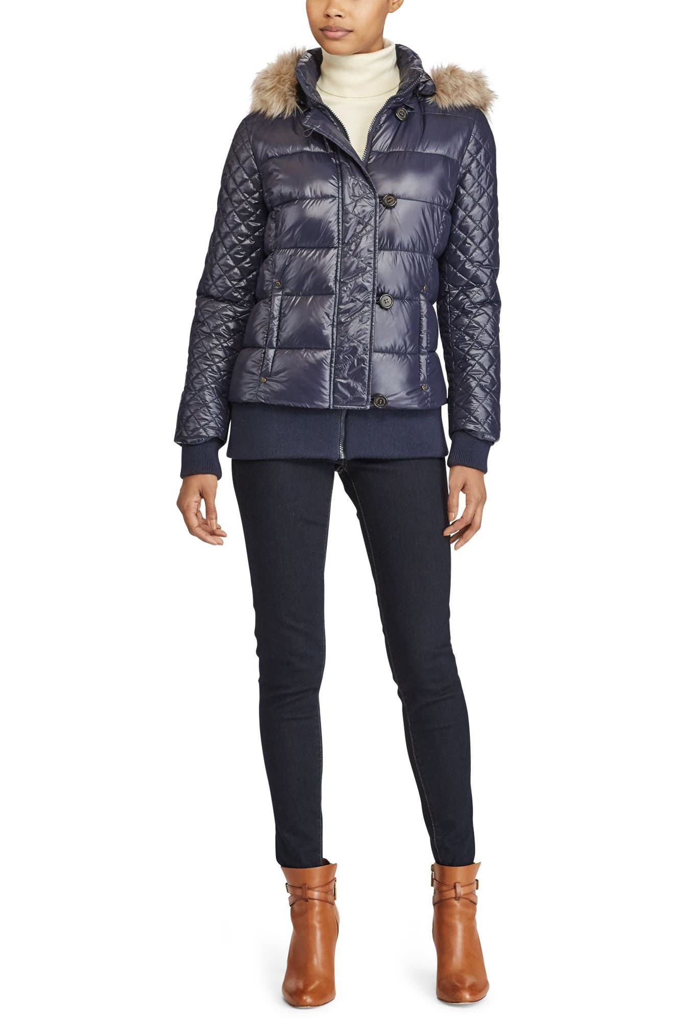 Quilted Jacket with Faux Fur Trim,                             Alternate thumbnail 2, color,                             Navy