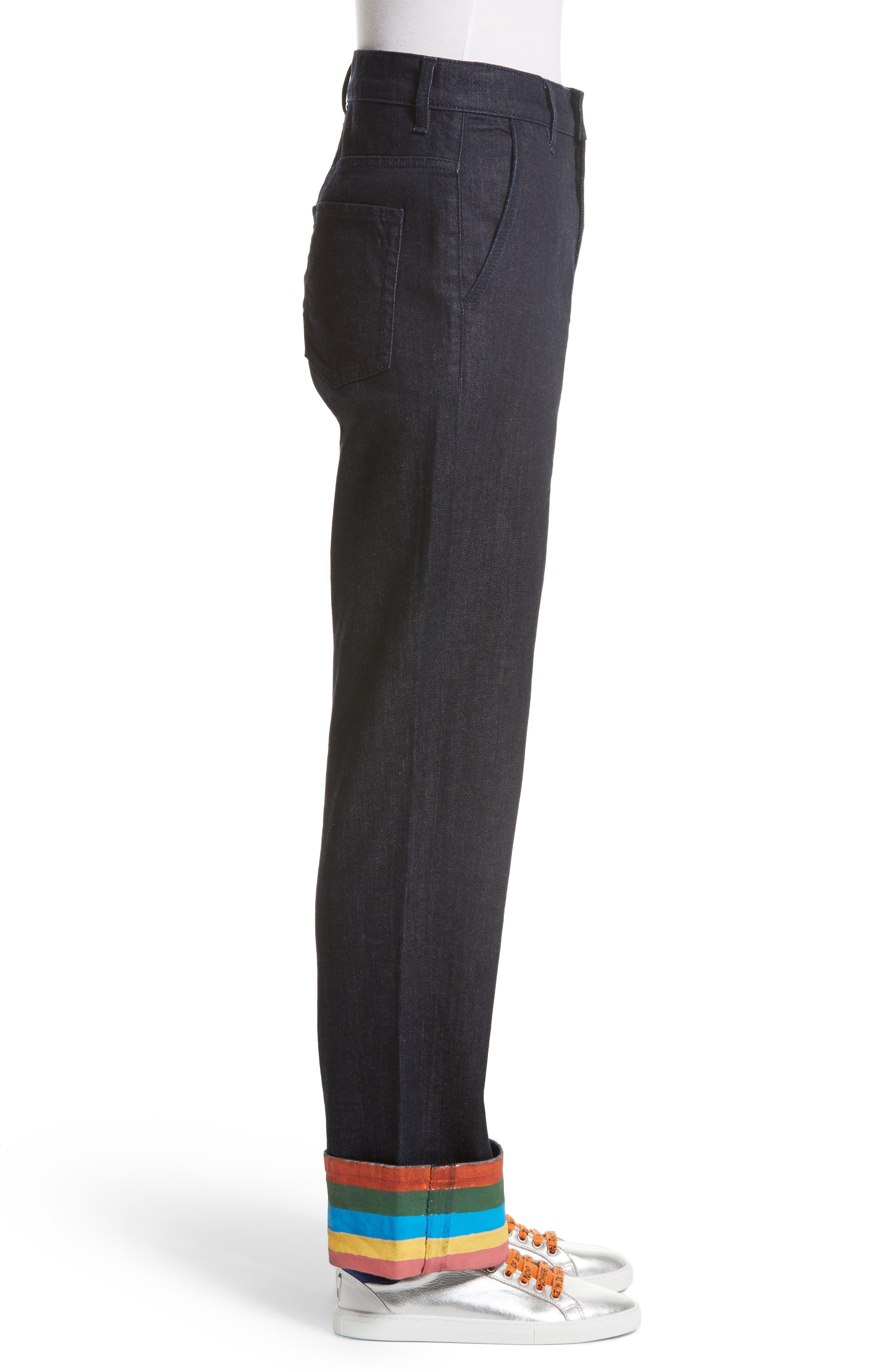 Ribbon Cuff Wide Leg Jeans,                             Alternate thumbnail 3, color,                             Dark Wash